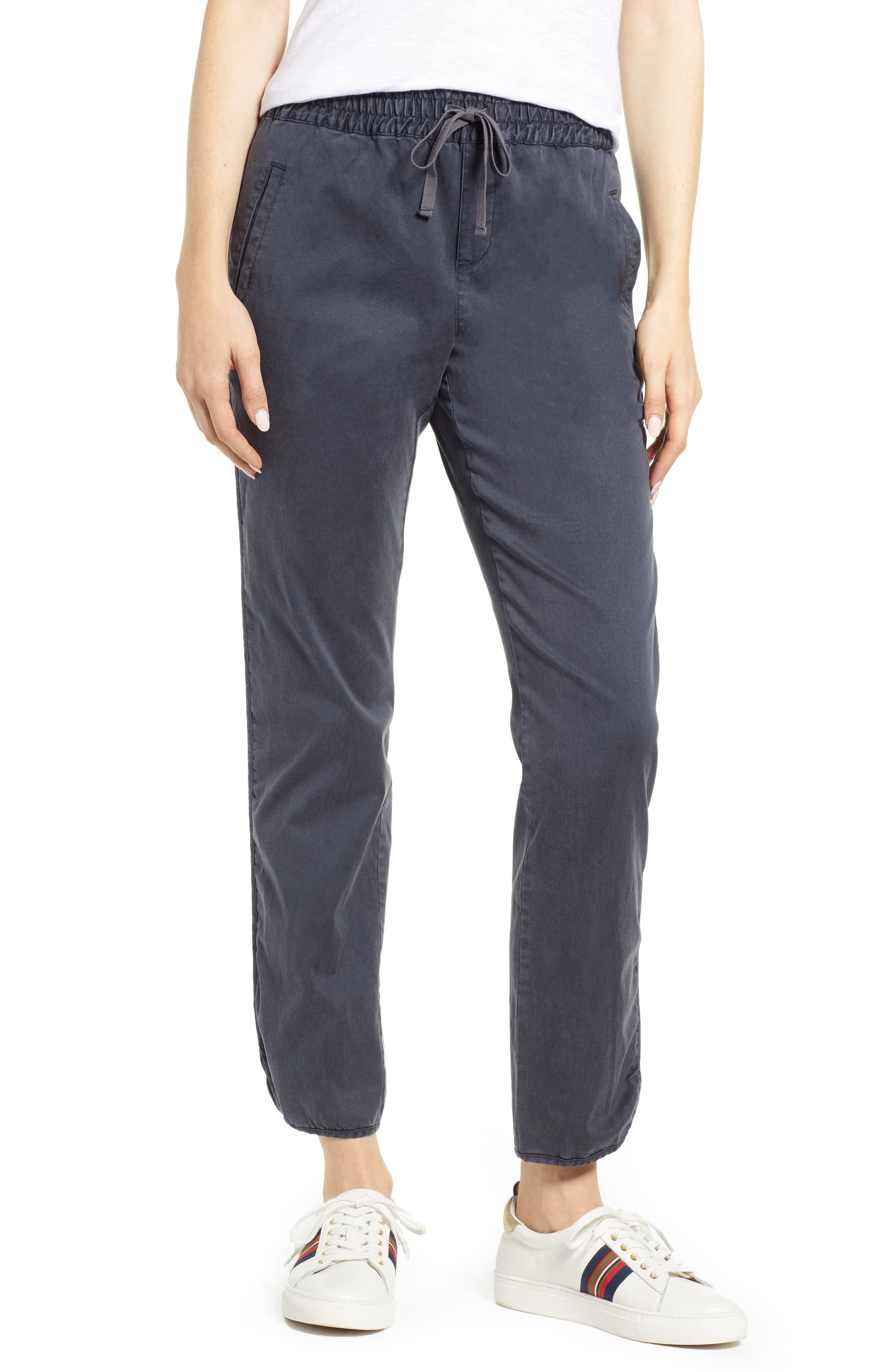 CASLON<SUP>®</SUP> Sandwashed Pull-On Pants, Main, color, GREY EBONY