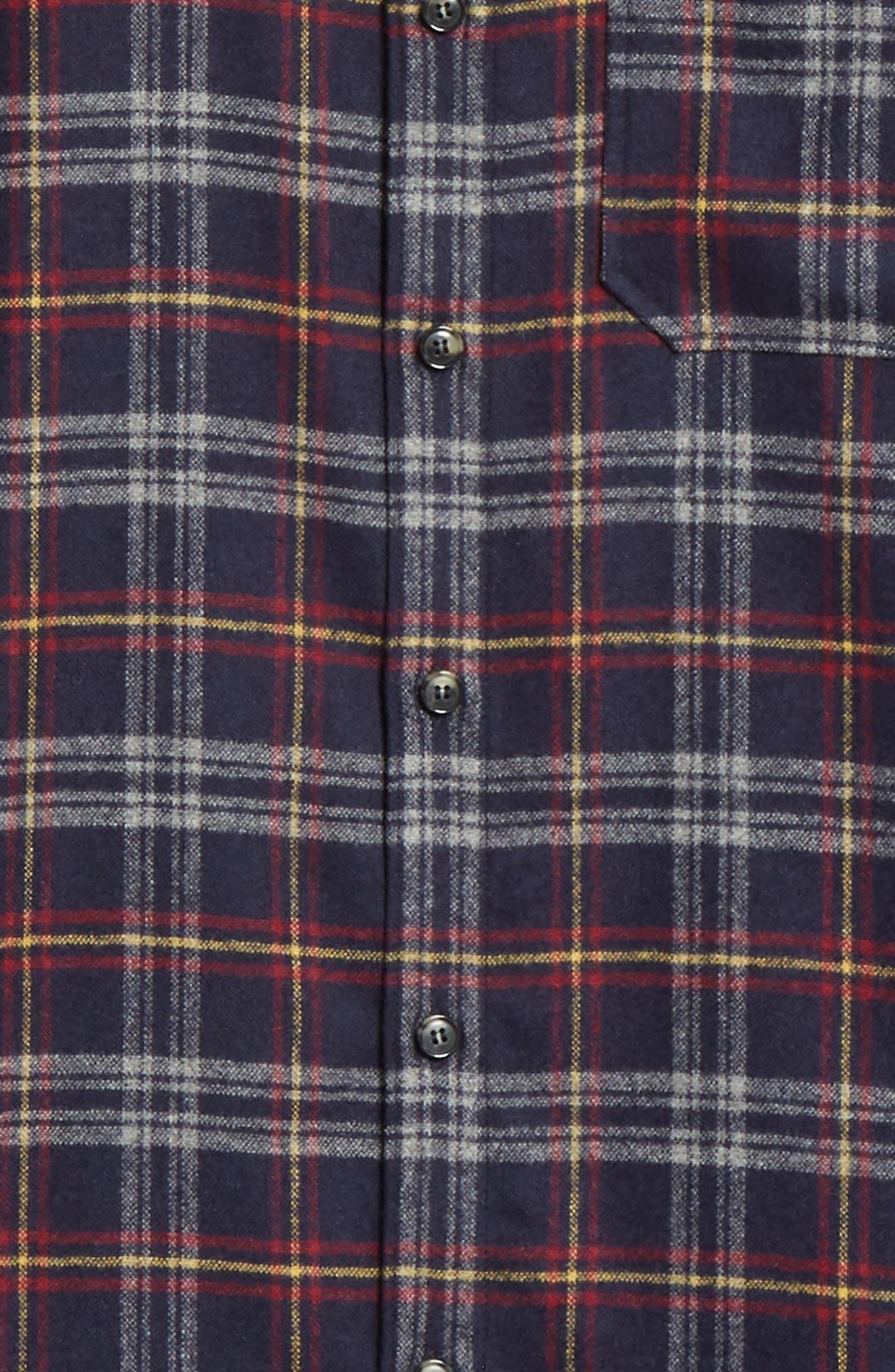 Check Flannel Shirt,                             Alternate thumbnail 6, color,                             IAK NAVY