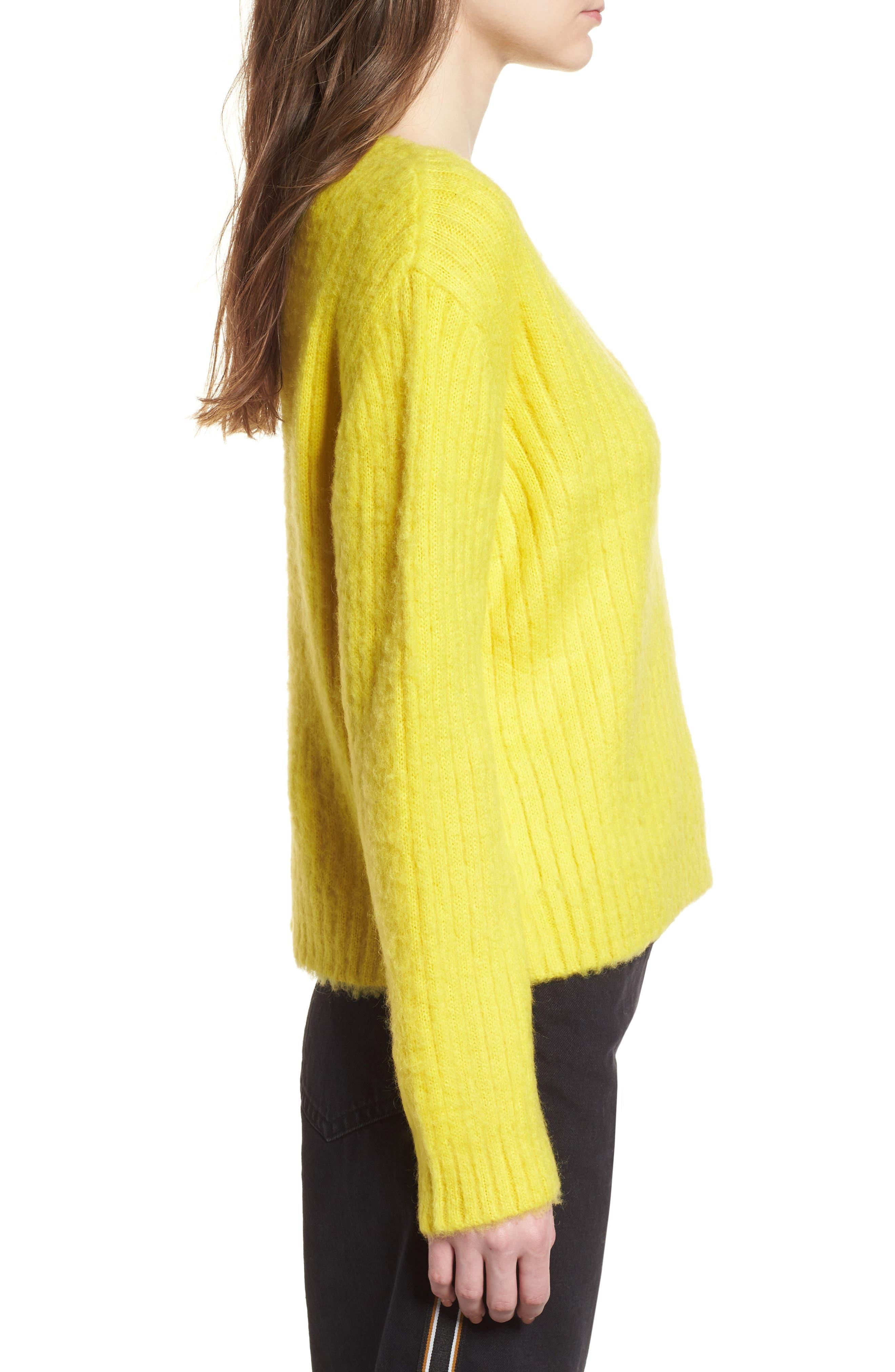 V-Neck Rib Sweater,                             Alternate thumbnail 3, color,                             700