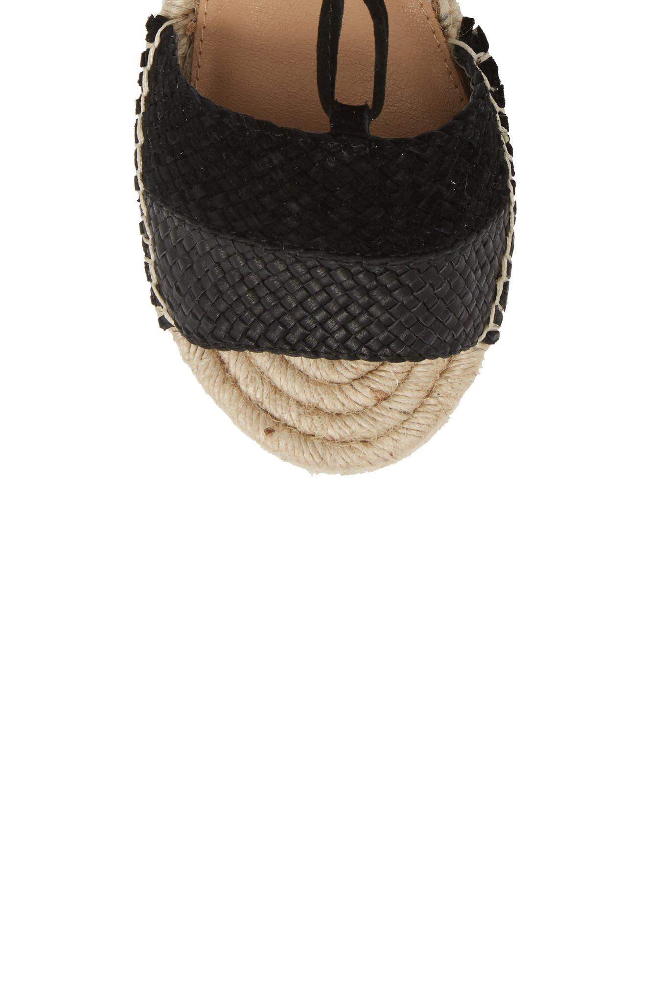 Eliza Ankle Wrap Espadrille Sandal,                             Alternate thumbnail 5, color,                             BLACK FABRIC