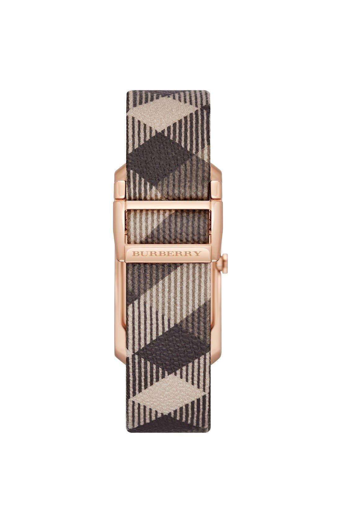 Rectangular Check Strap Watch, 25mm x 33mm,                             Alternate thumbnail 2, color,                             020