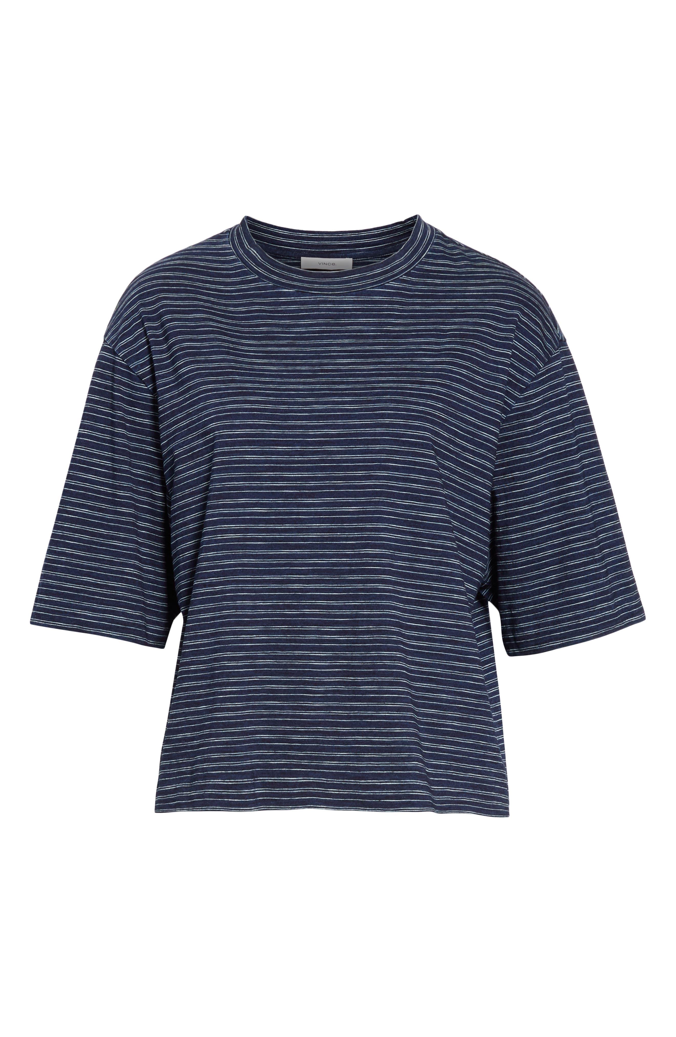 Indigo Stripe Wide Sleeve Tee,                             Alternate thumbnail 6, color,                             INDIGO/ OFF WHITE