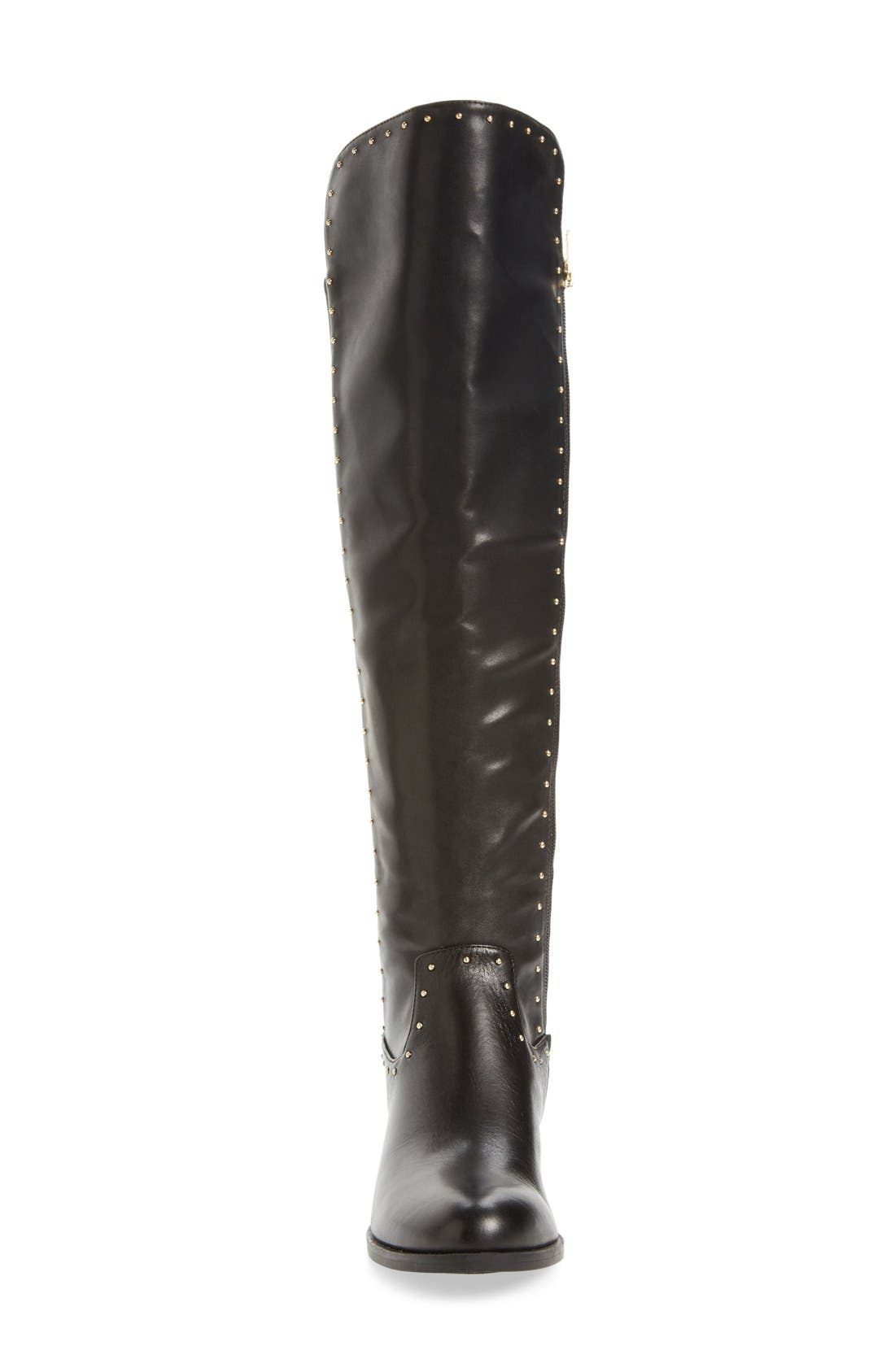 CALVIN KLEIN,                             Cynthia Studded Riding Boot,                             Alternate thumbnail 3, color,                             001