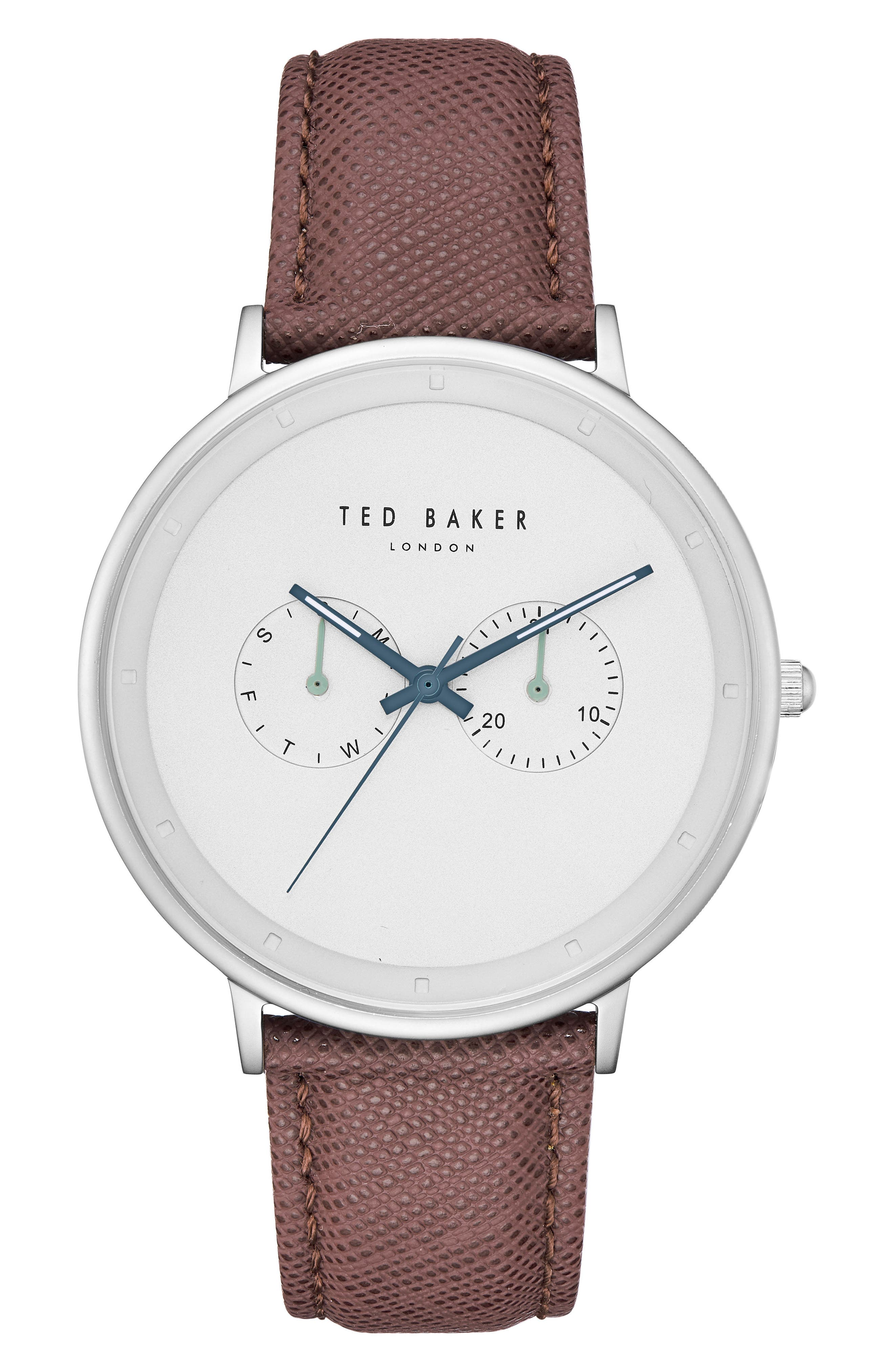 Ted Baker London Brad Multifuntion Leather Strap Watch, 42 Mm