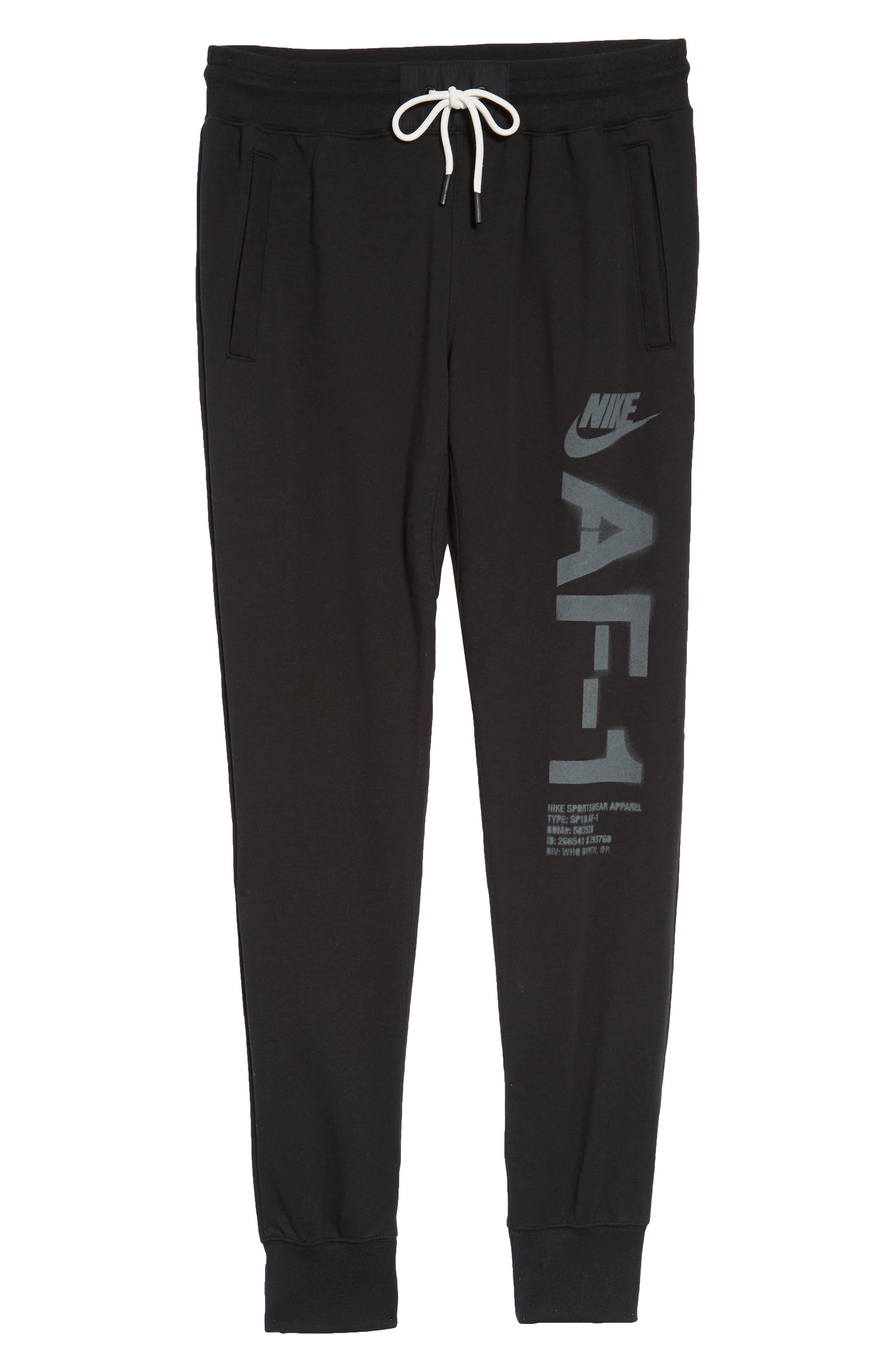 Sportswear Air Force 1 Jogger Pants,                             Alternate thumbnail 6, color,                             BLACK/ ANTHRACITE