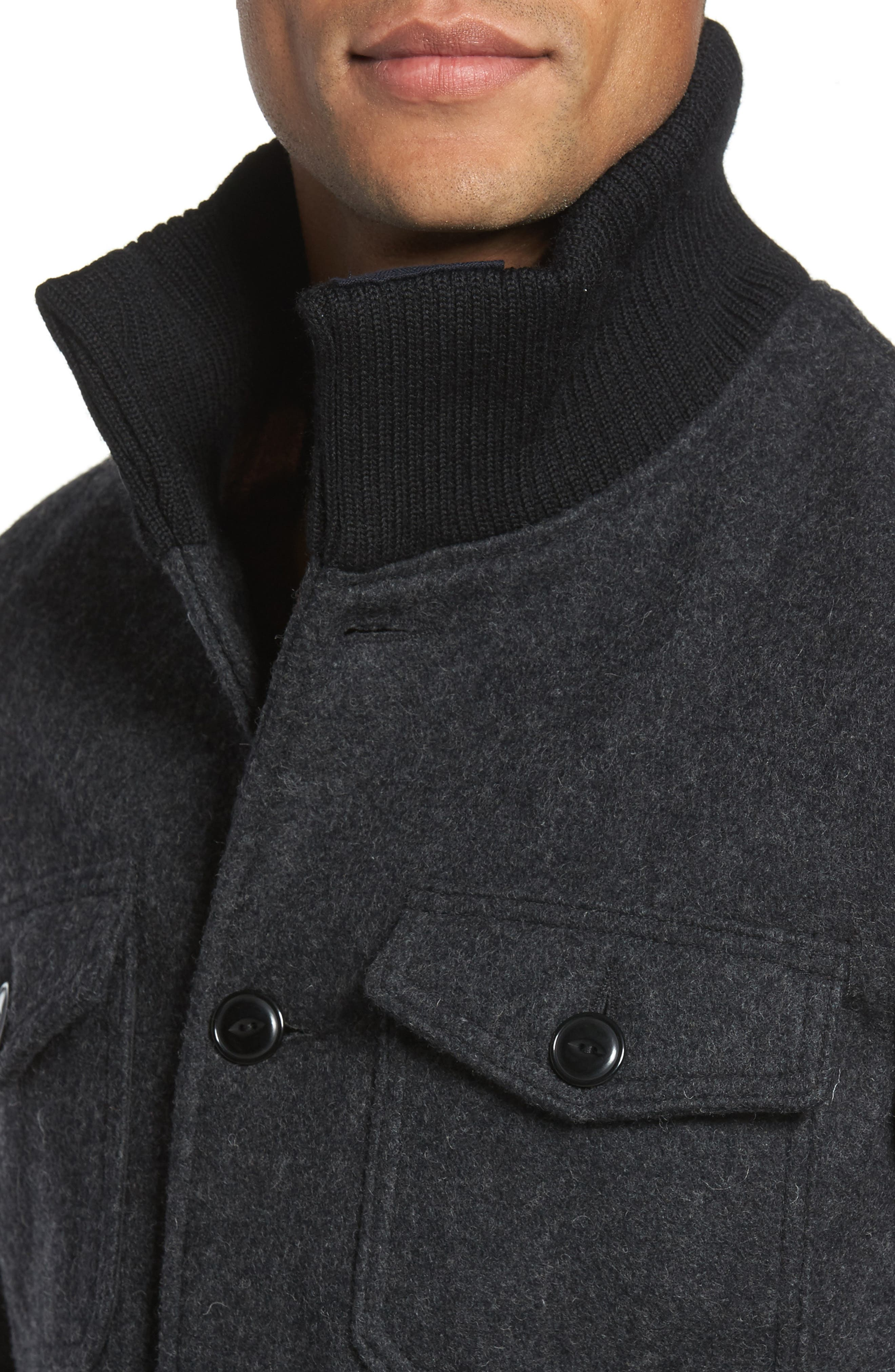 Wool Blend Field Jacket,                             Alternate thumbnail 4, color,                             DARK OXFORD