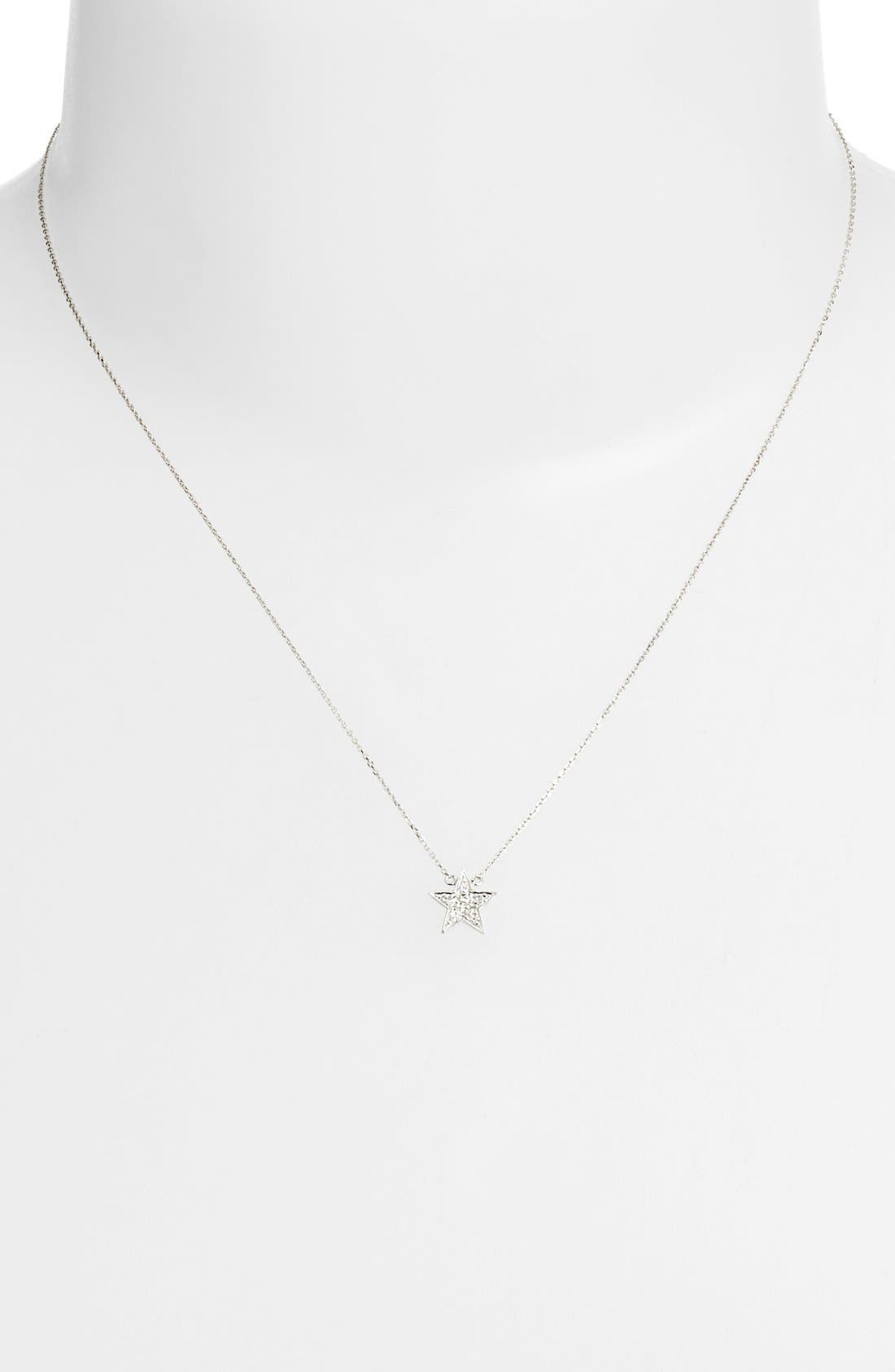 'Julianne Himiko' Diamond Star Pendant Necklace,                             Alternate thumbnail 3, color,                             WHITE GOLD