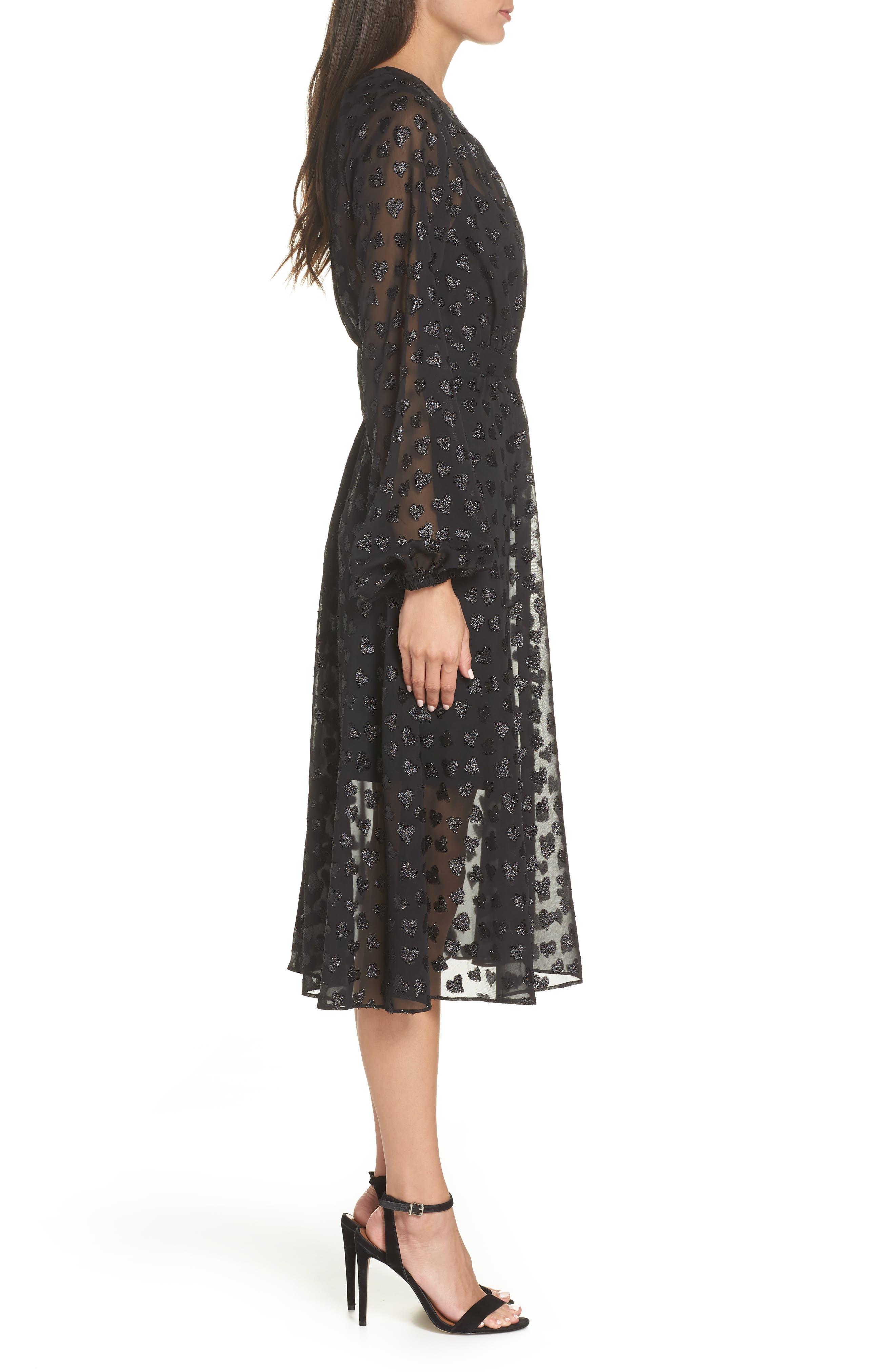 AVEC LES FILLES,                             Tea Length Metallic Mesh Dress,                             Alternate thumbnail 4, color,                             001