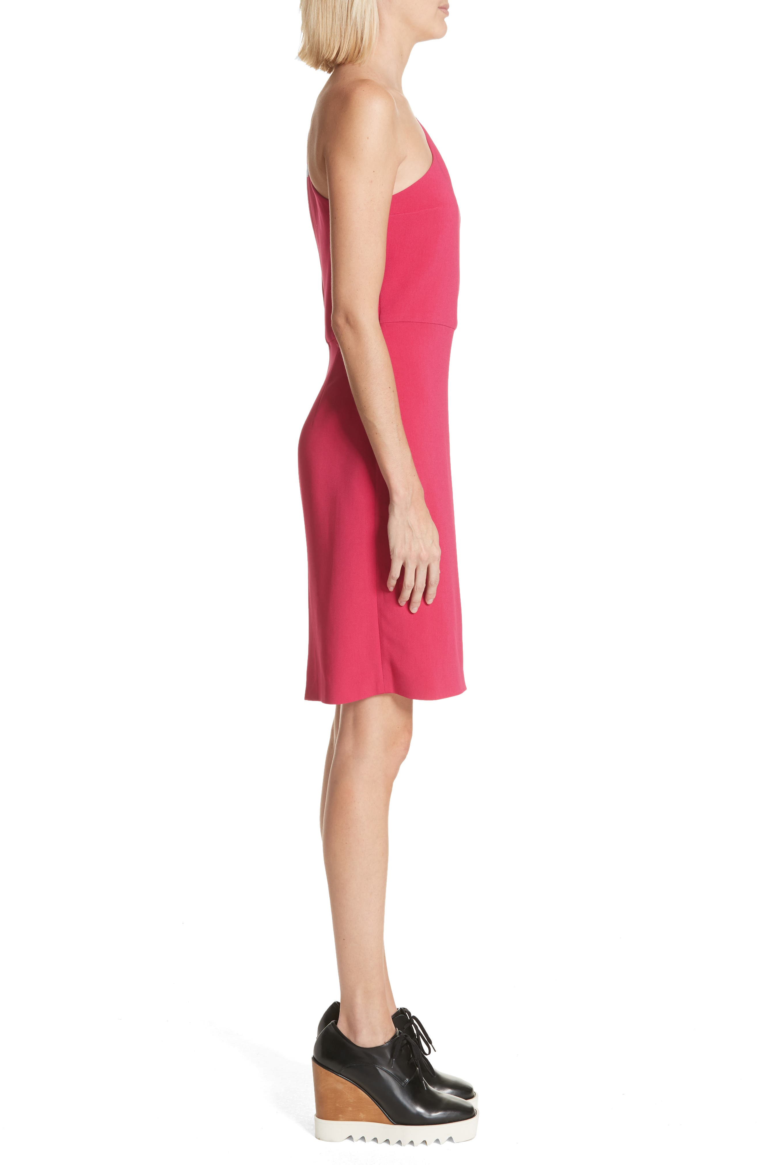 One-Shoulder Puff Sleeve Cady Dress,                             Alternate thumbnail 3, color,