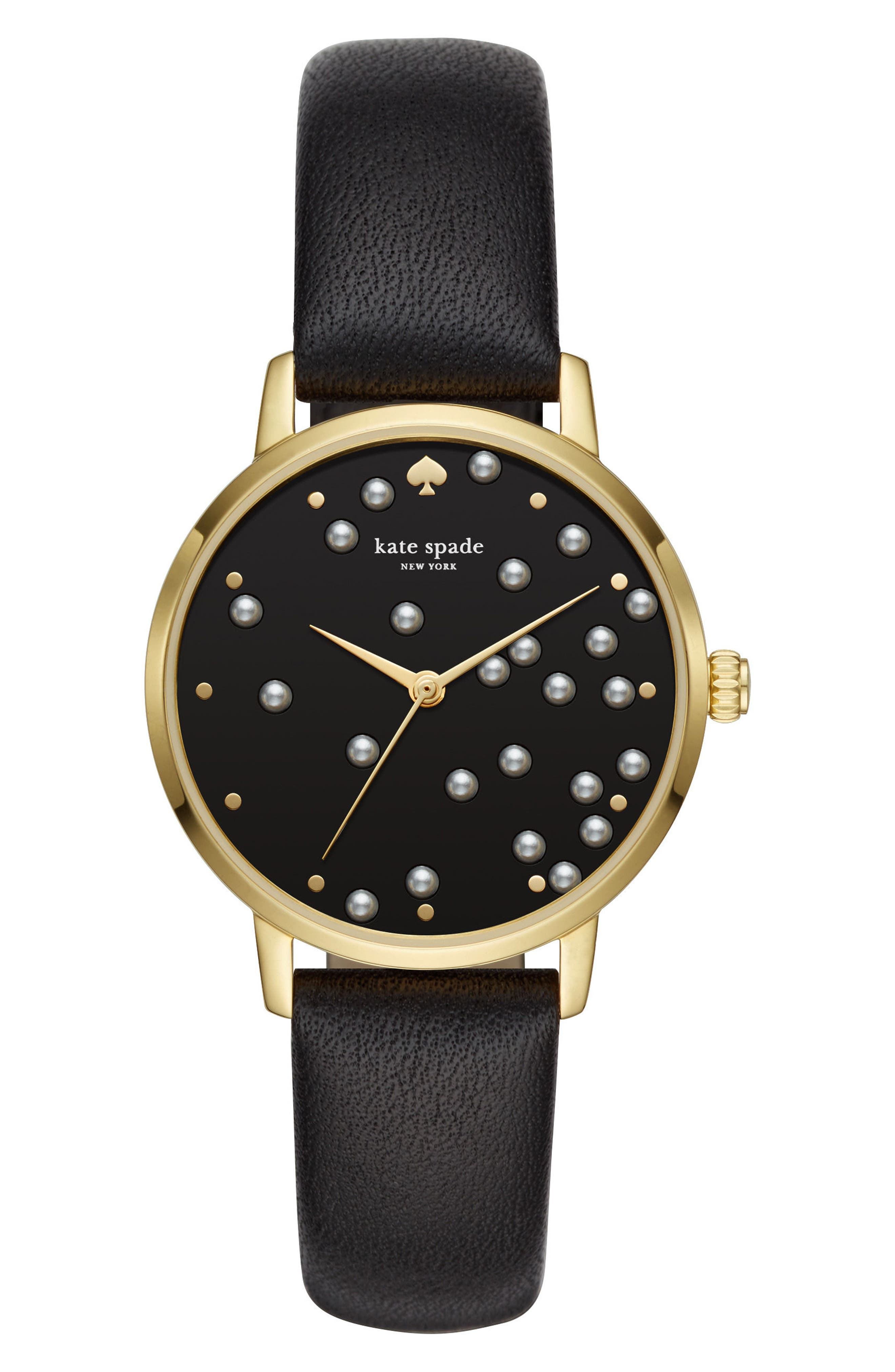 metro embellished dial leather strap watch, 34mm,                         Main,                         color, 001