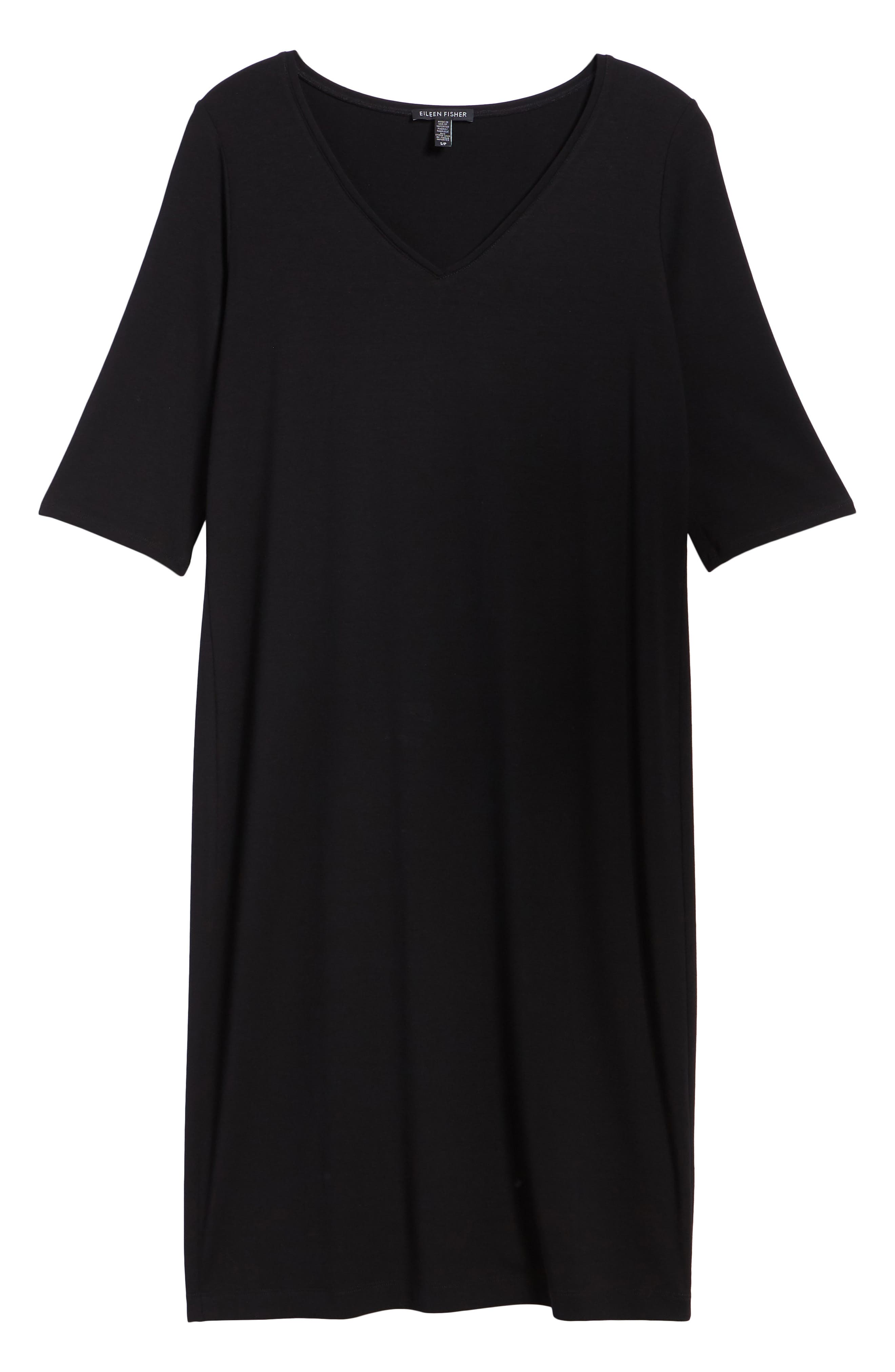 Stretch Jersey Shift Dress,                             Alternate thumbnail 7, color,                             001