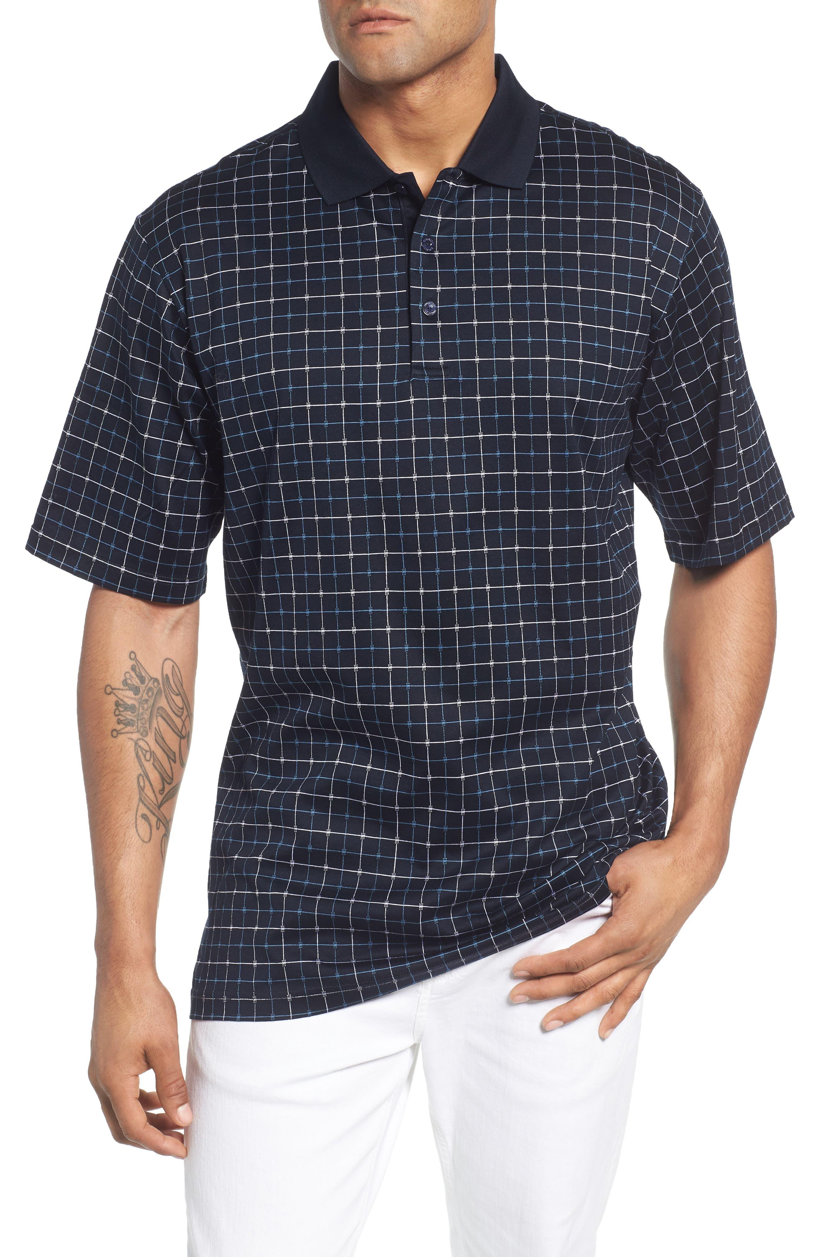Grid Mercerized Cotton Polo,                         Main,                         color, 410