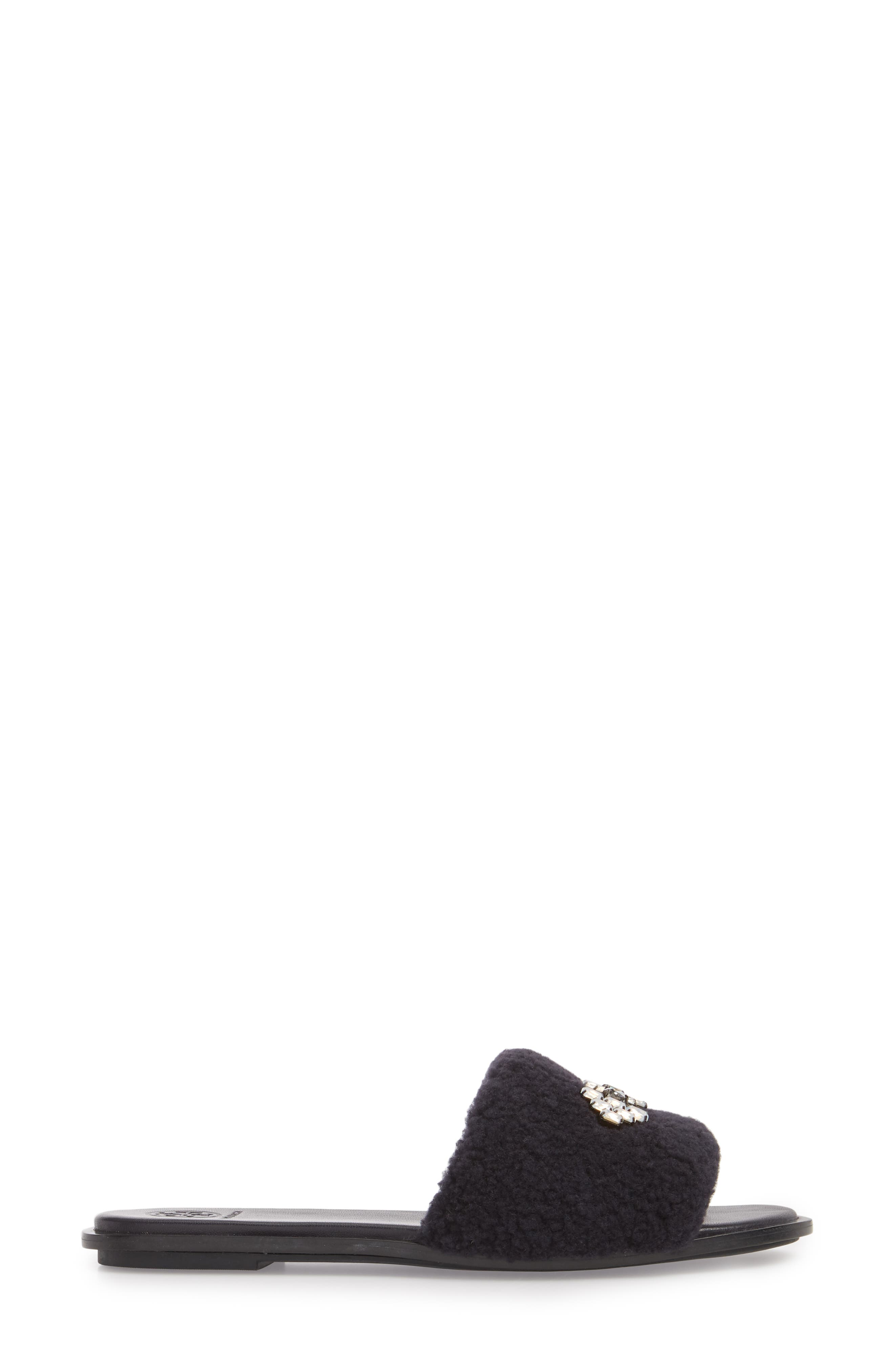 Embellished Genuine Shearling Slide Sandal,                             Alternate thumbnail 3, color,                             PERFECT NAVY