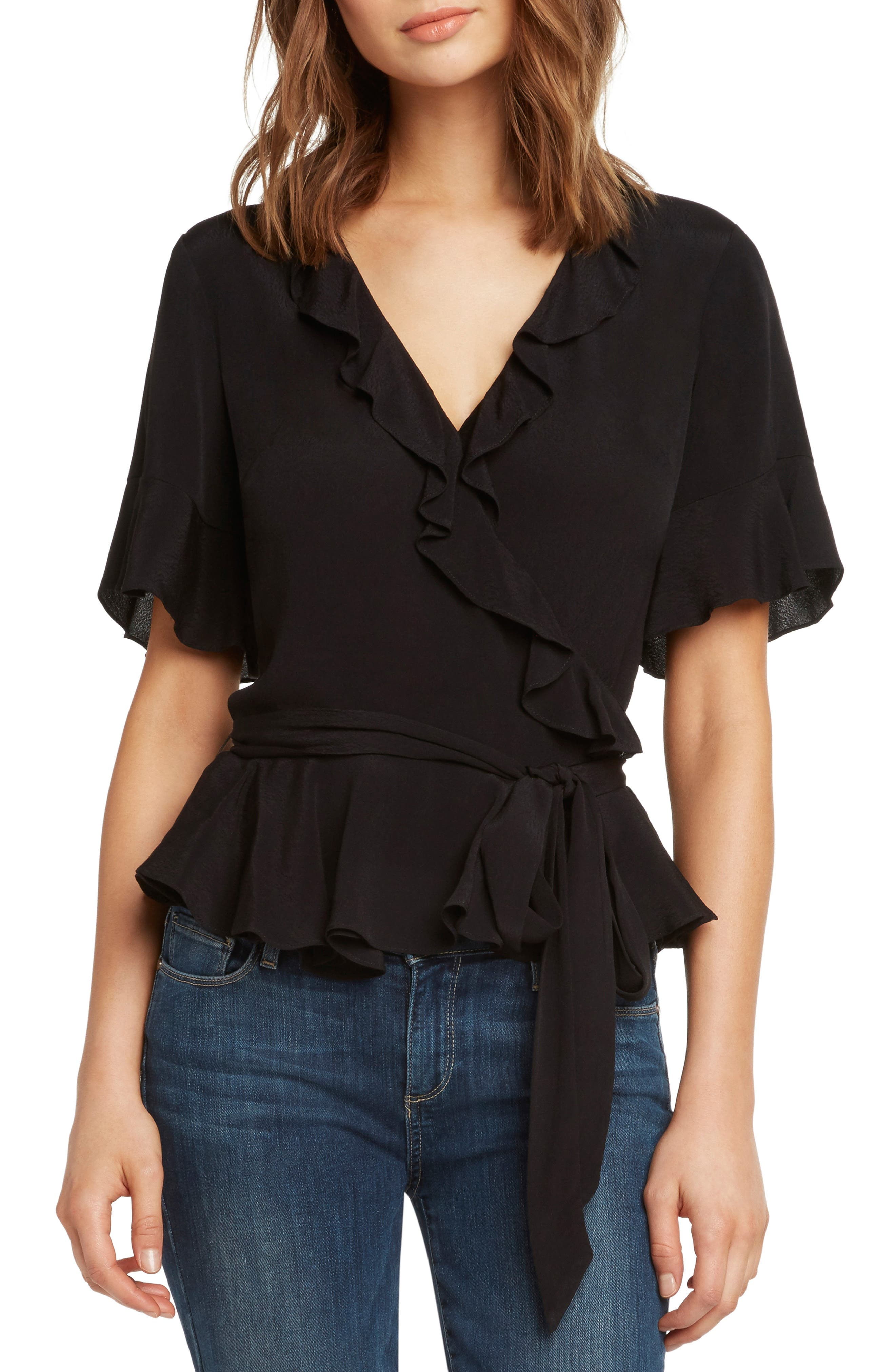 WILLOW & CLAY Ruffle Wrap Top, Main, color, 001