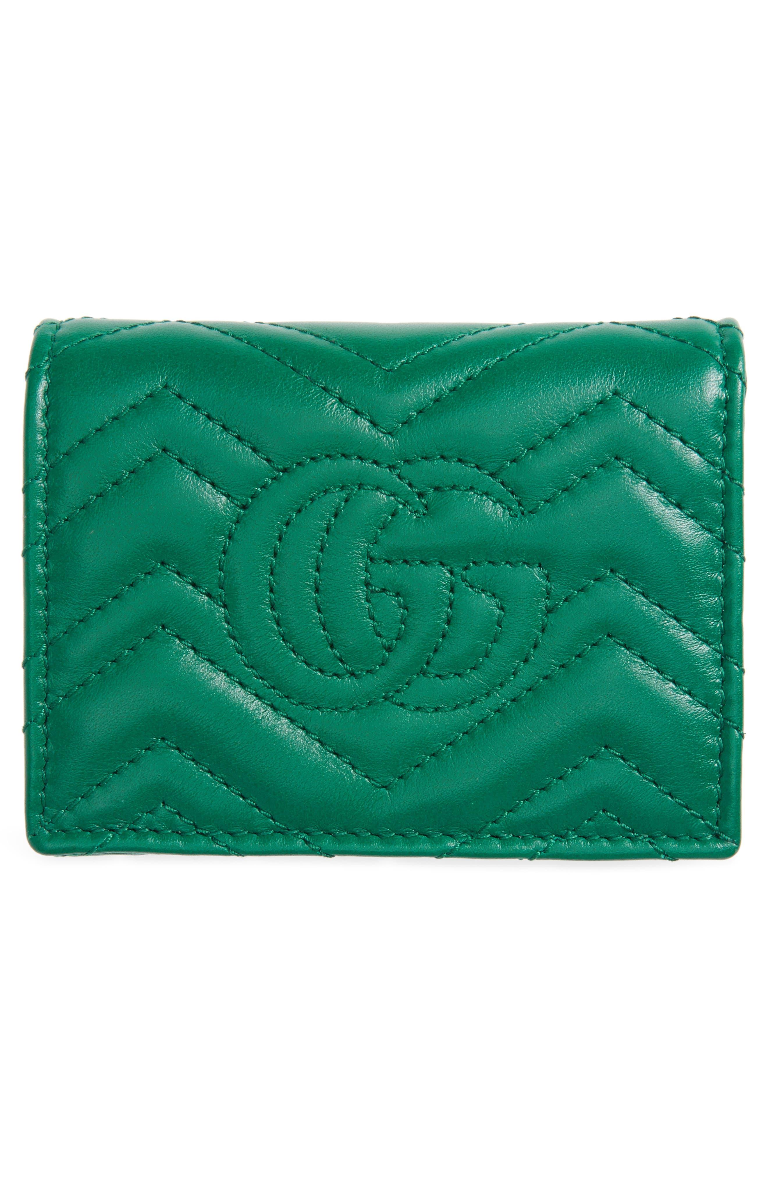 GG Marmont Matelassé Leather Card Case,                             Alternate thumbnail 3, color,                             302