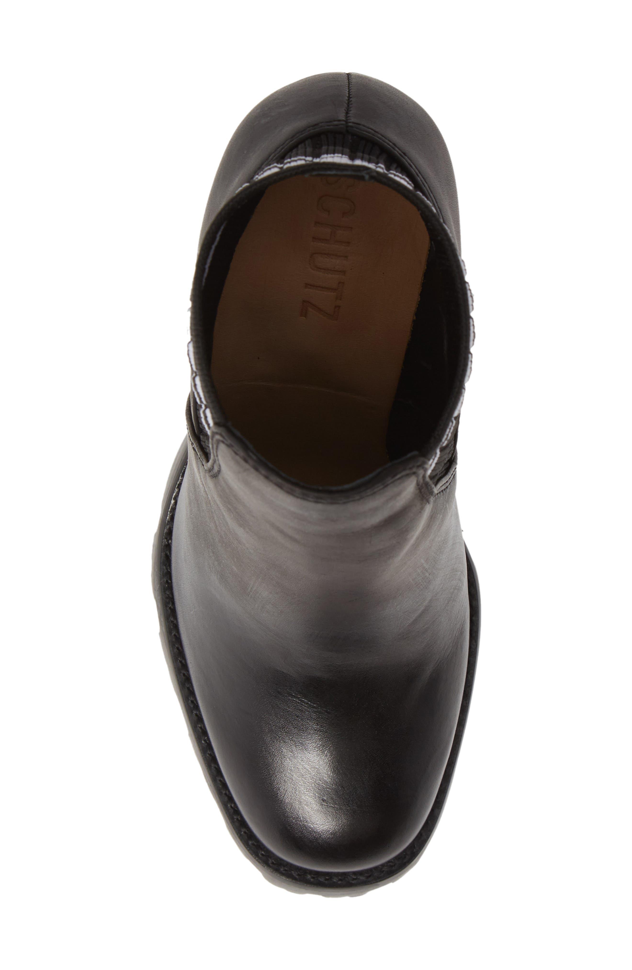Ilenne Platform Sock Bootie,                             Alternate thumbnail 5, color,                             BLACK/ WHITE