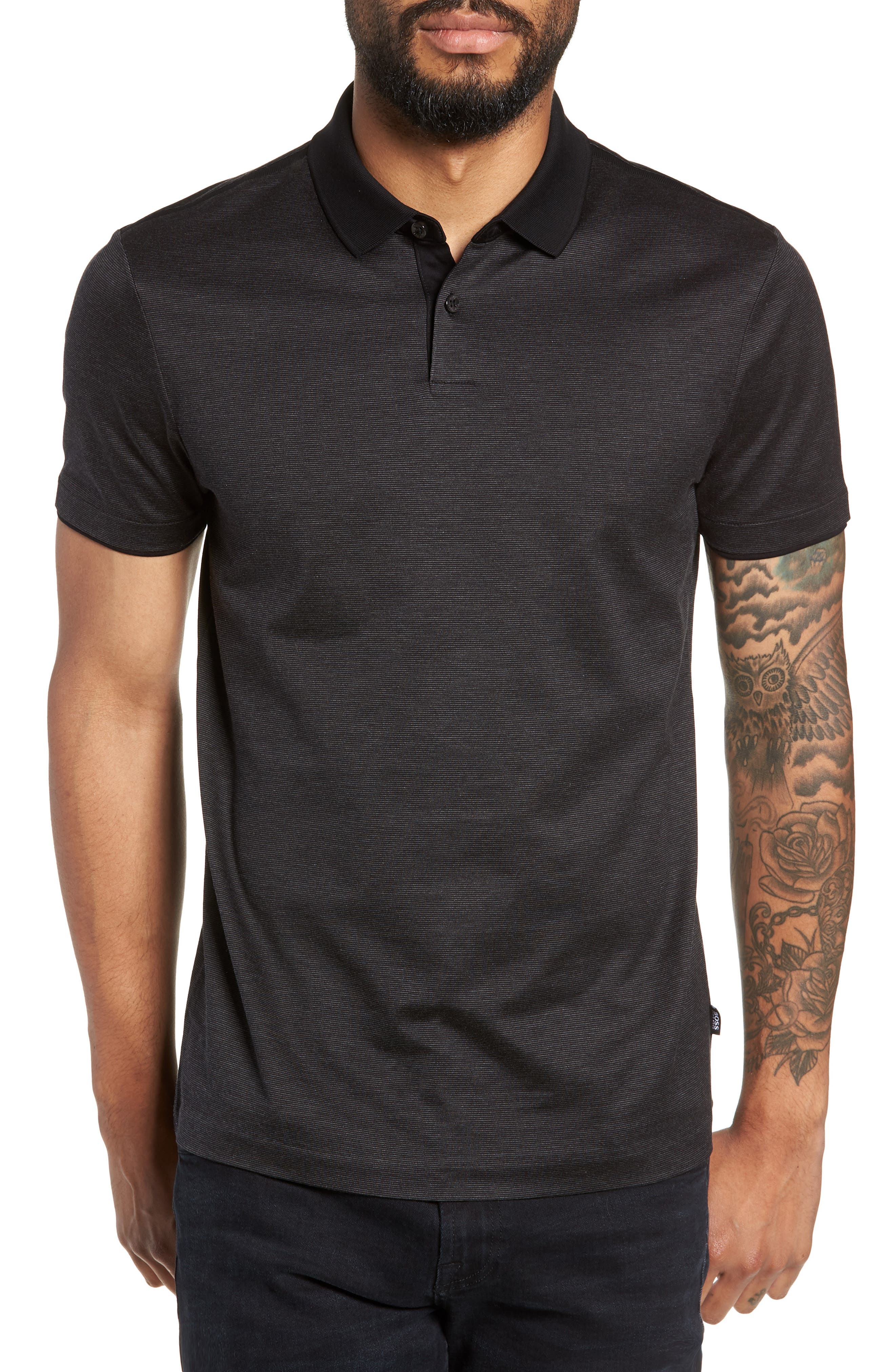 Pitton Slim Fit Polo,                         Main,                         color, 001
