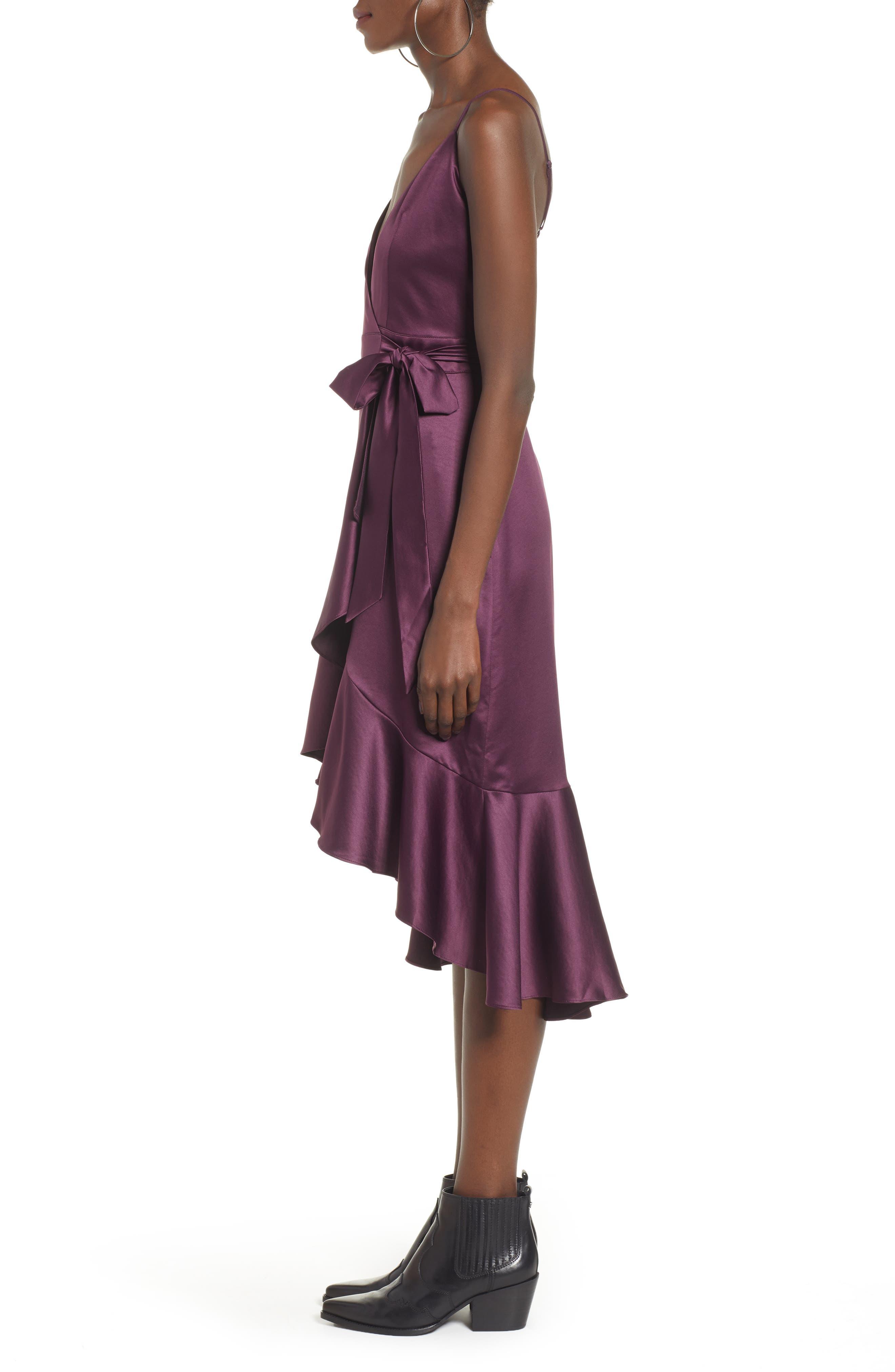 BAND OF GYPSIES,                             Payton Ruffled High/Low Dress,                             Alternate thumbnail 3, color,                             PLUM