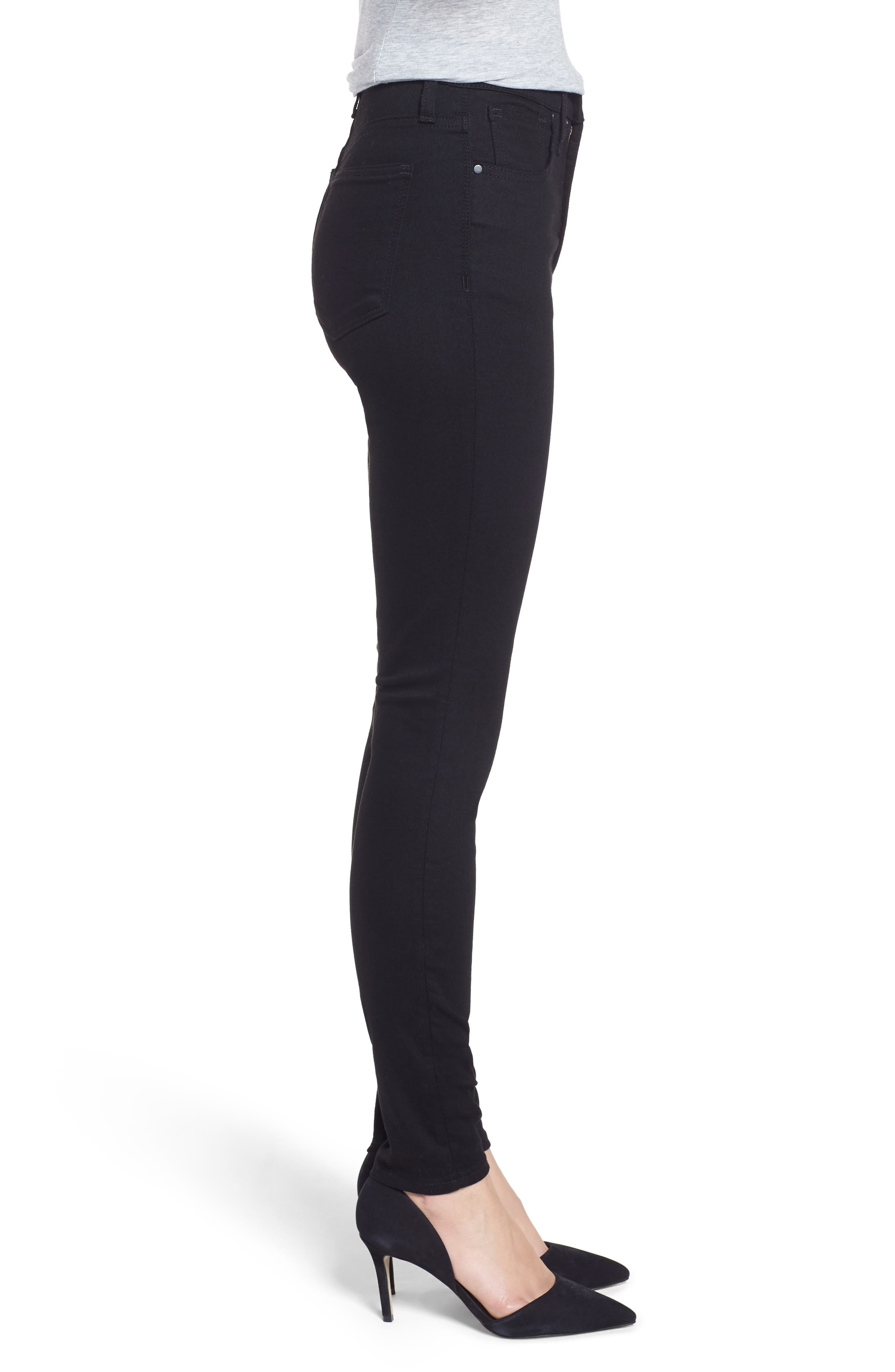 Sierra High Waist Skinny Jeans,                             Alternate thumbnail 3, color,                             CLEAN BLACK