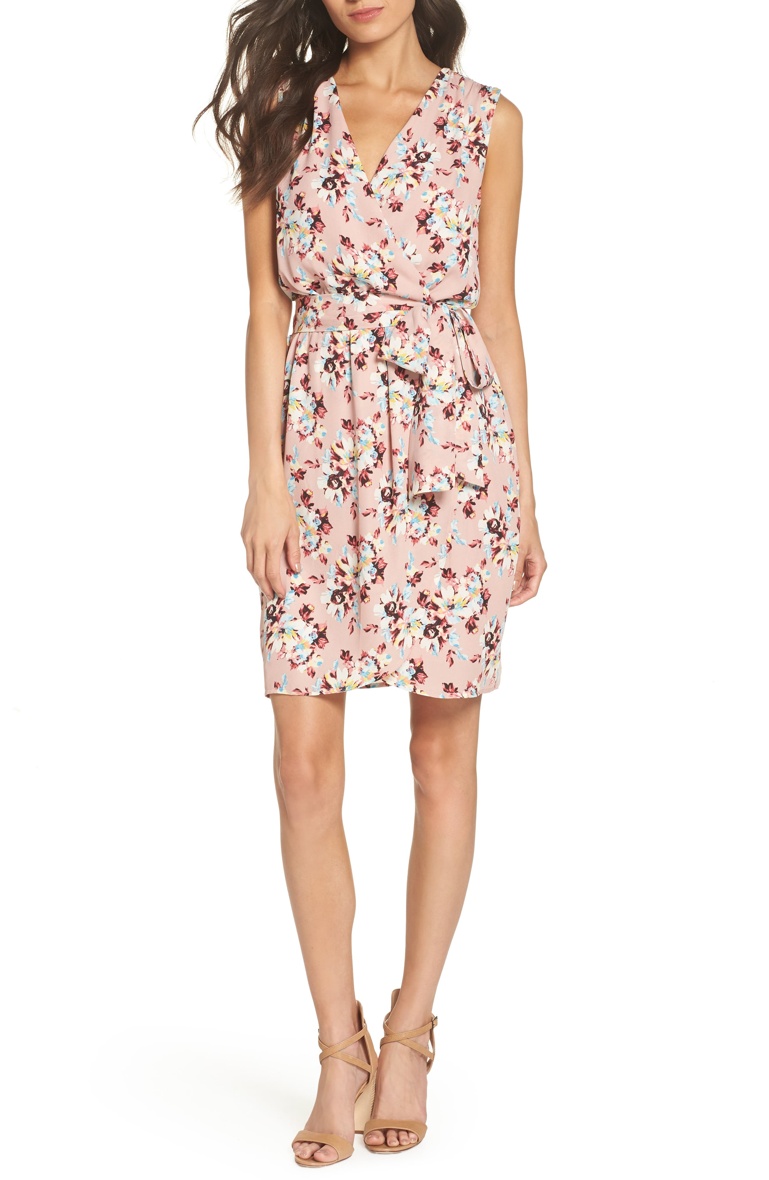Floral Faux Wrap Dress,                             Main thumbnail 1, color,                             657