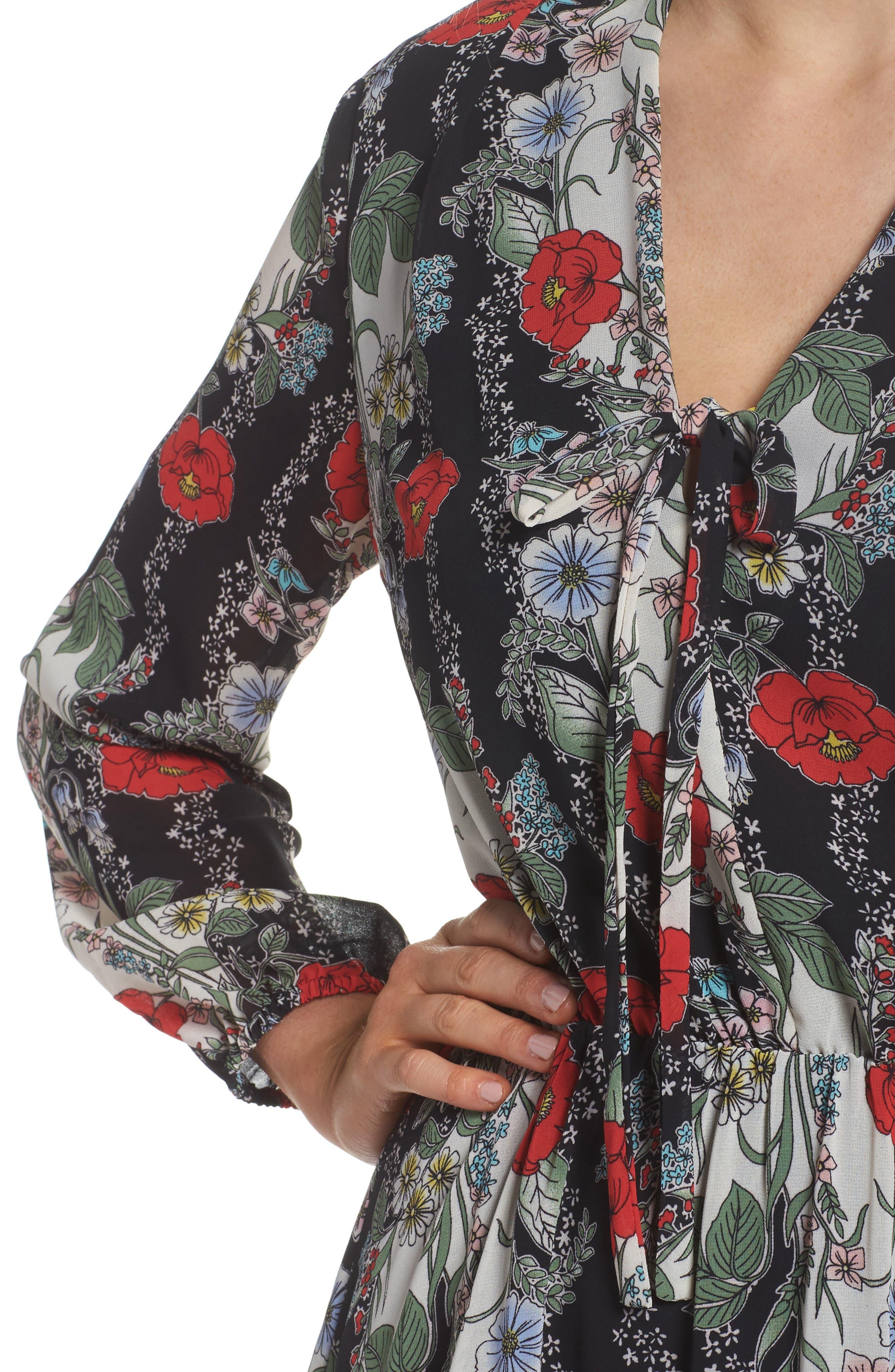 Lidia Tie Front Dress,                             Alternate thumbnail 4, color,                             LIDIA
