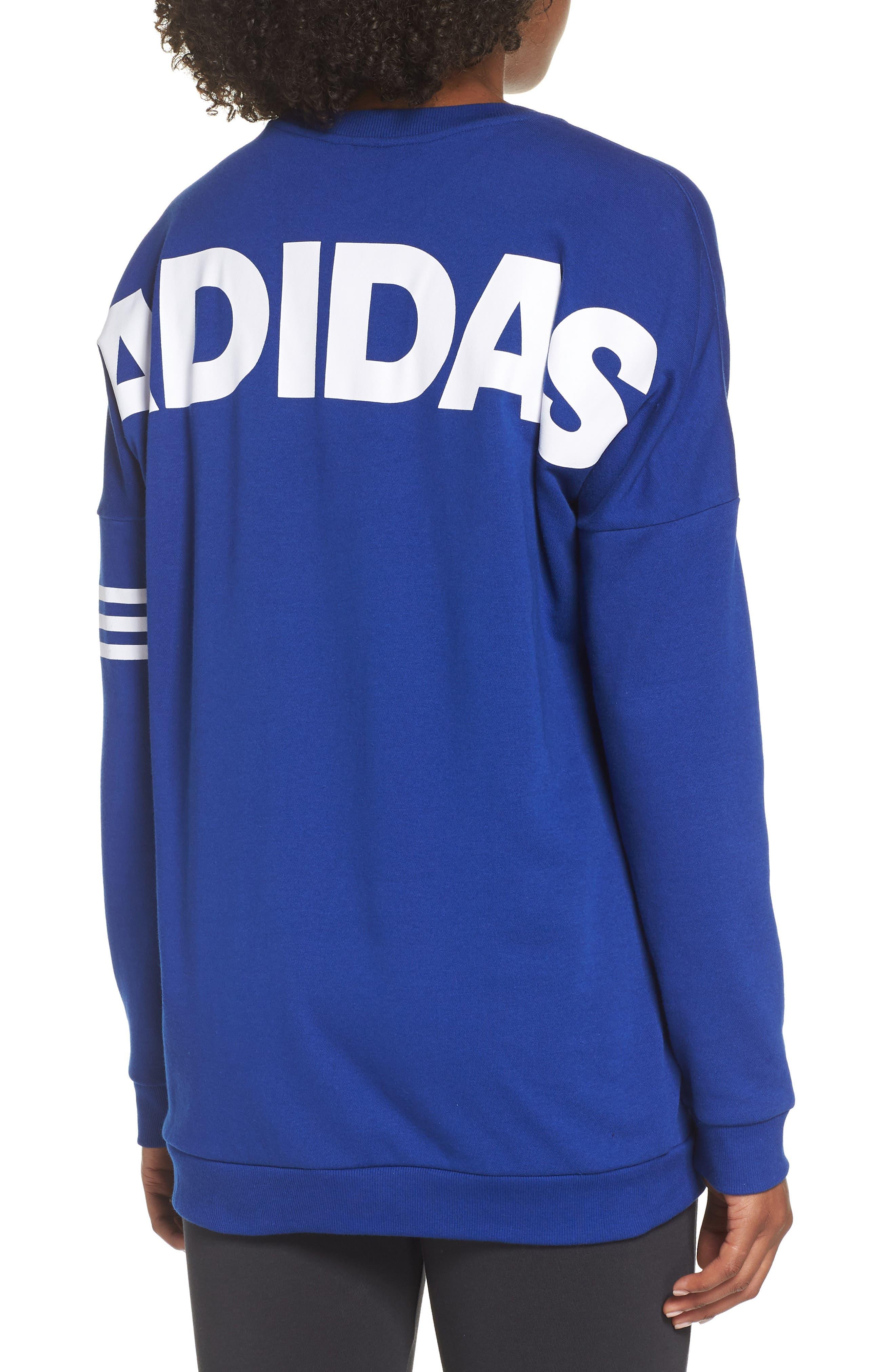 adidas Oversize Crewneck Sweatshirt,                             Alternate thumbnail 2, color,                             MYSTERY INK