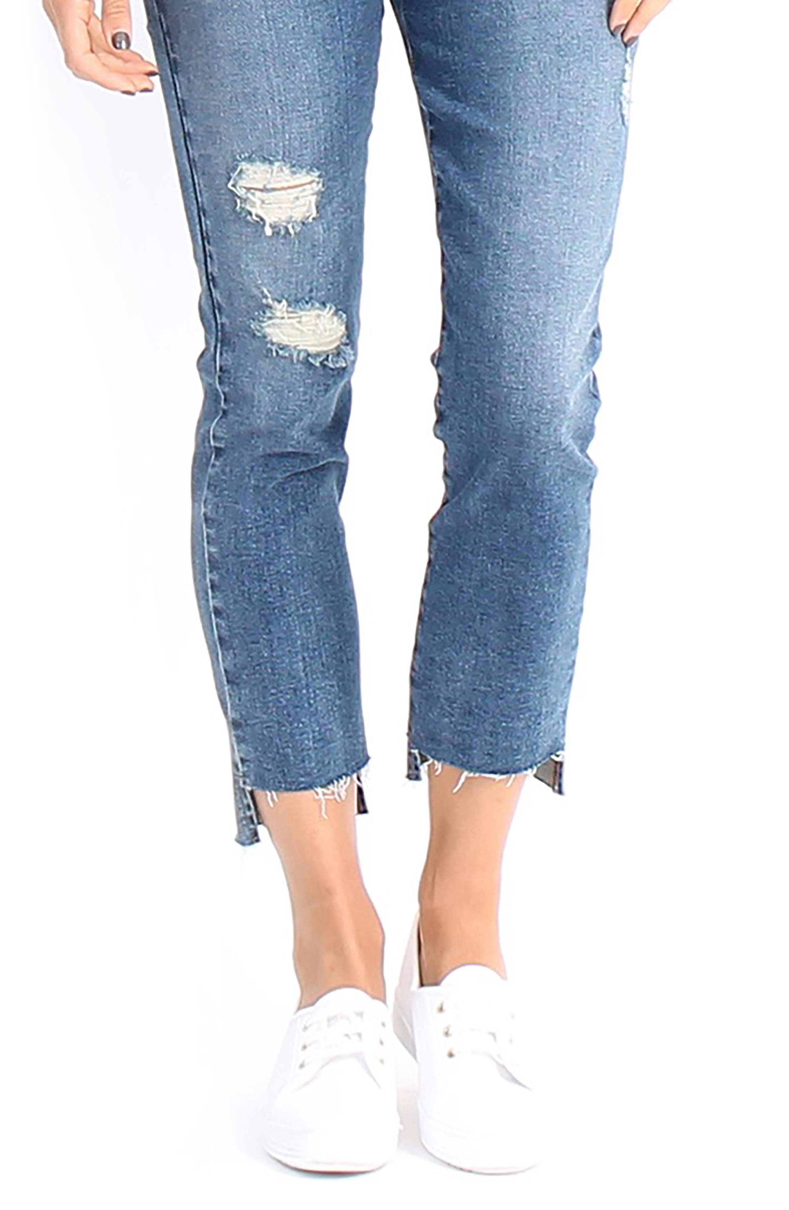 Skylar High-Waist Step Hem Distressed Jeans,                             Alternate thumbnail 4, color,                             411