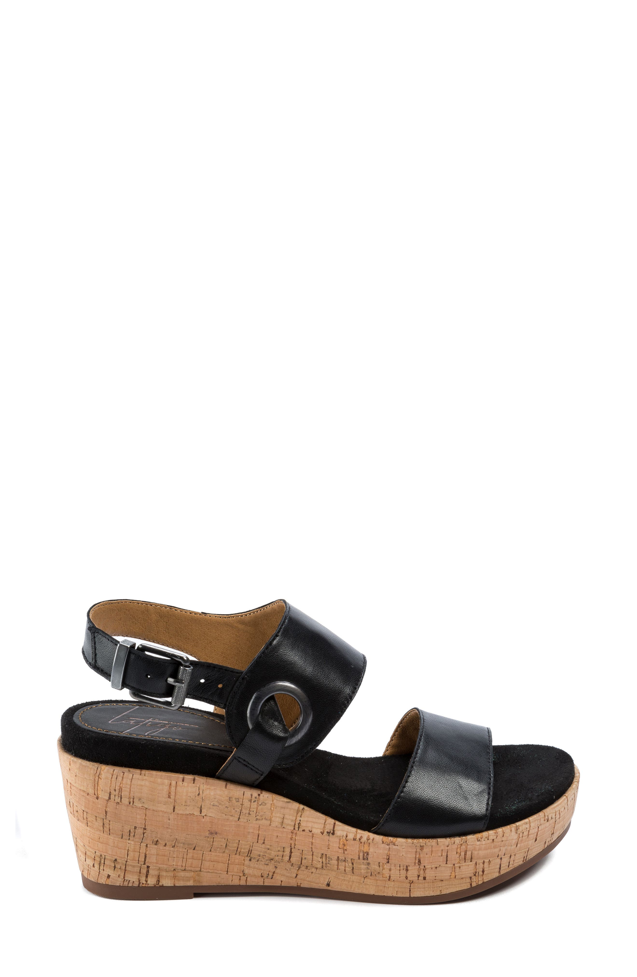 Lauren Platform Wedge Sandal,                             Alternate thumbnail 3, color,                             001