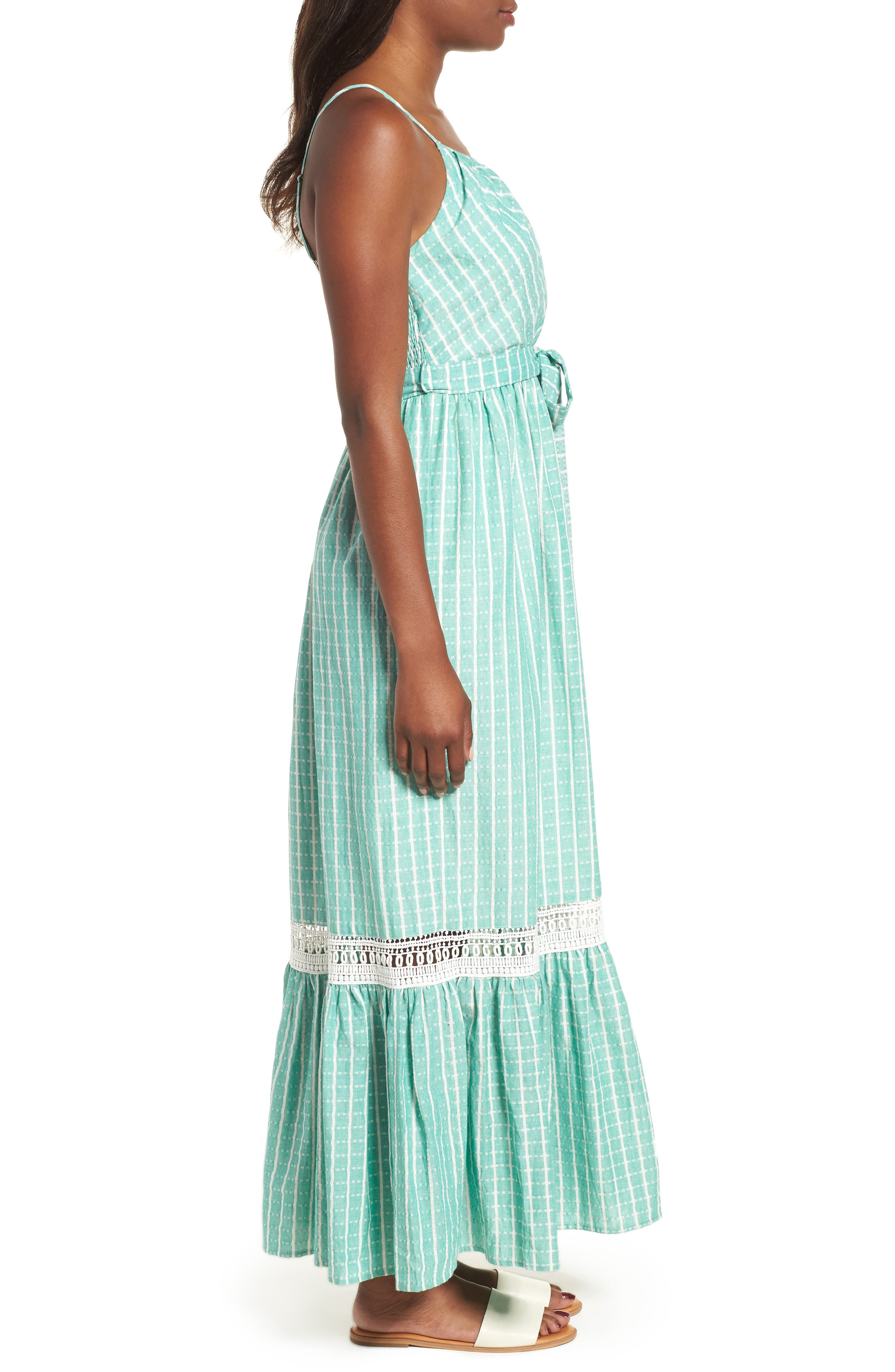 Tie Waist Cotton Maxi Dress,                             Alternate thumbnail 10, color,