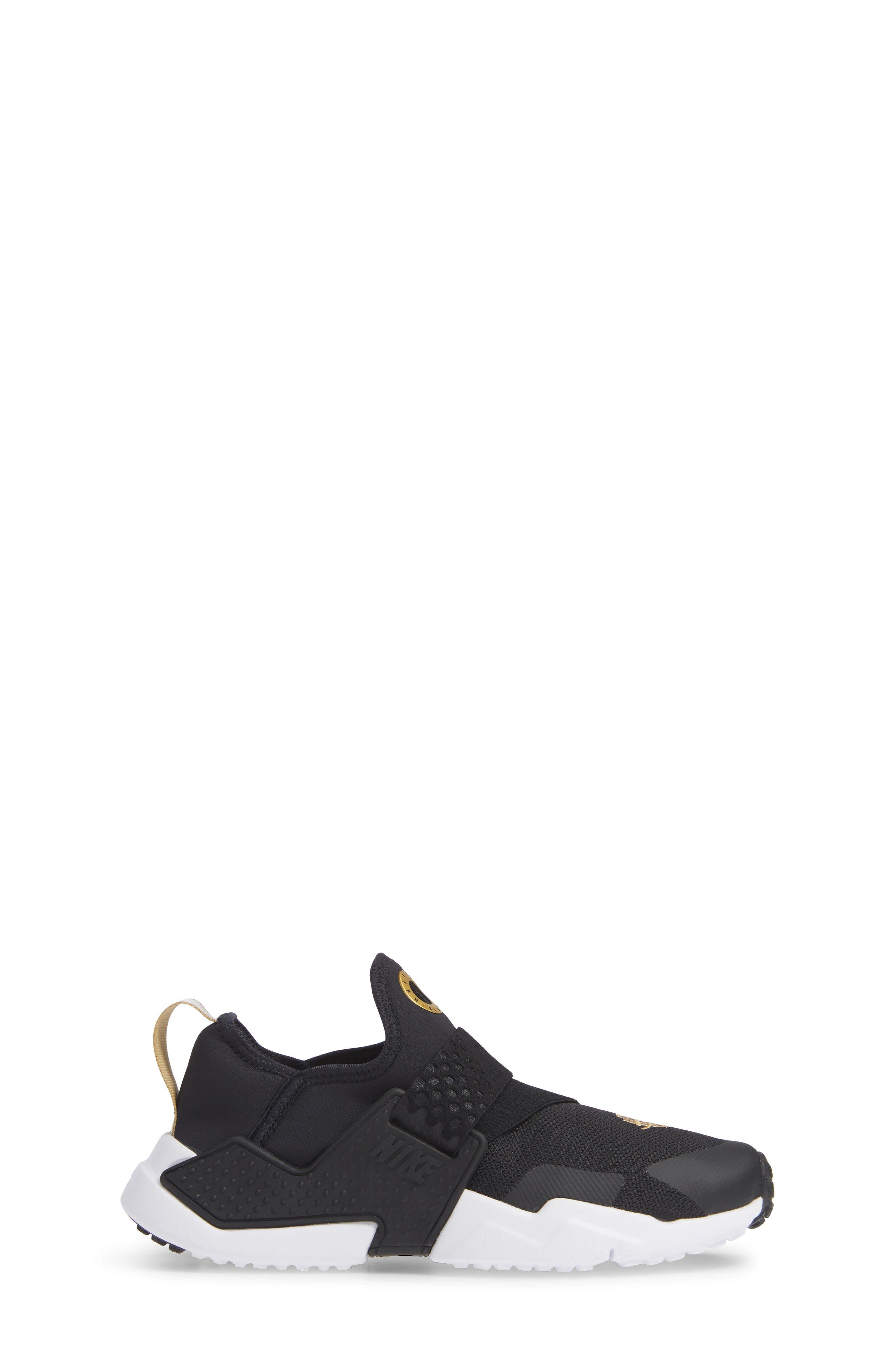 Huarache Extreme Sneaker,                             Alternate thumbnail 3, color,                             BLACK/ METALLIC GOLD/ WHITE