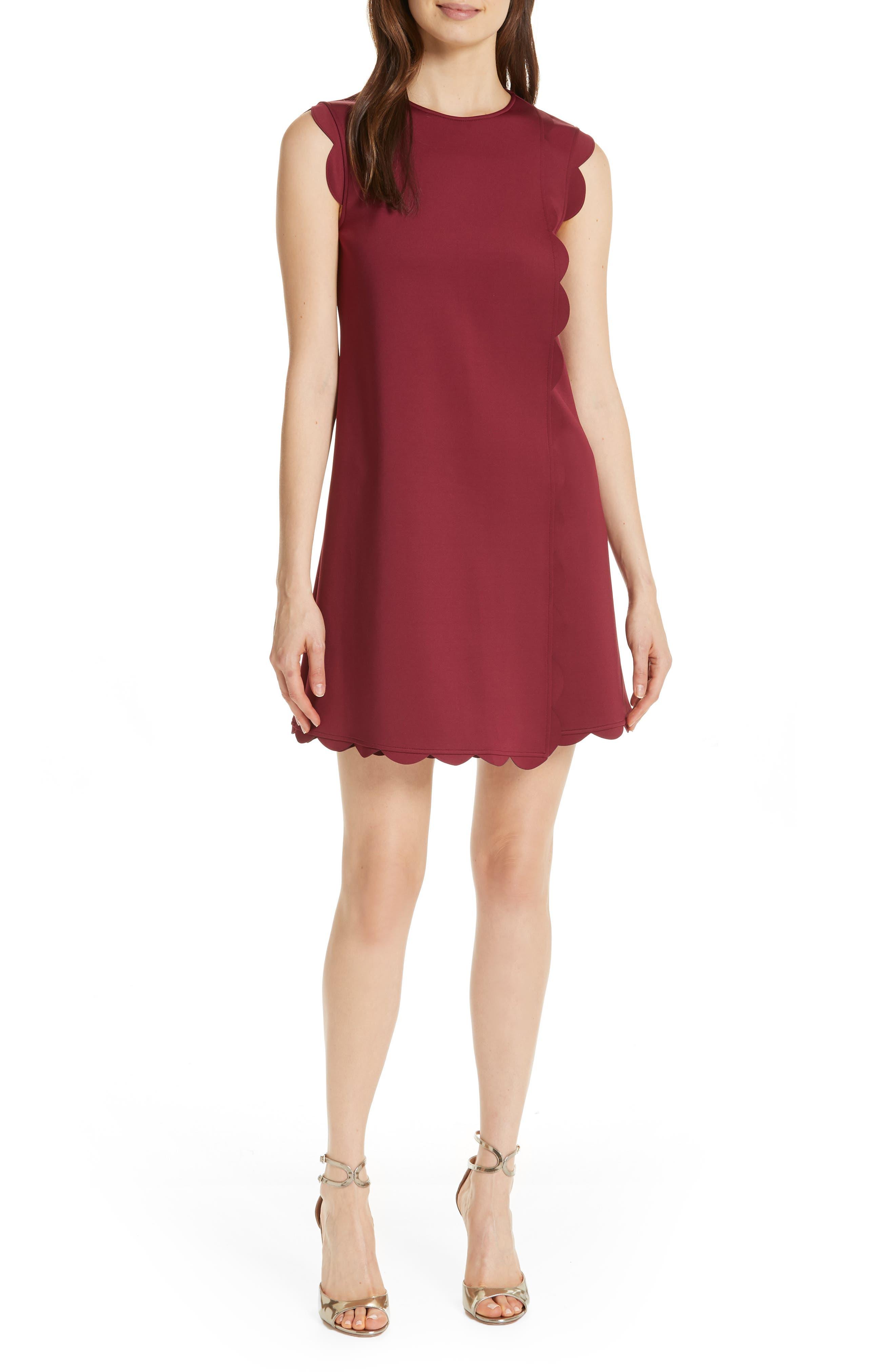 Ted Baker London Jasmint Scallop Overlay Dress, Burgundy