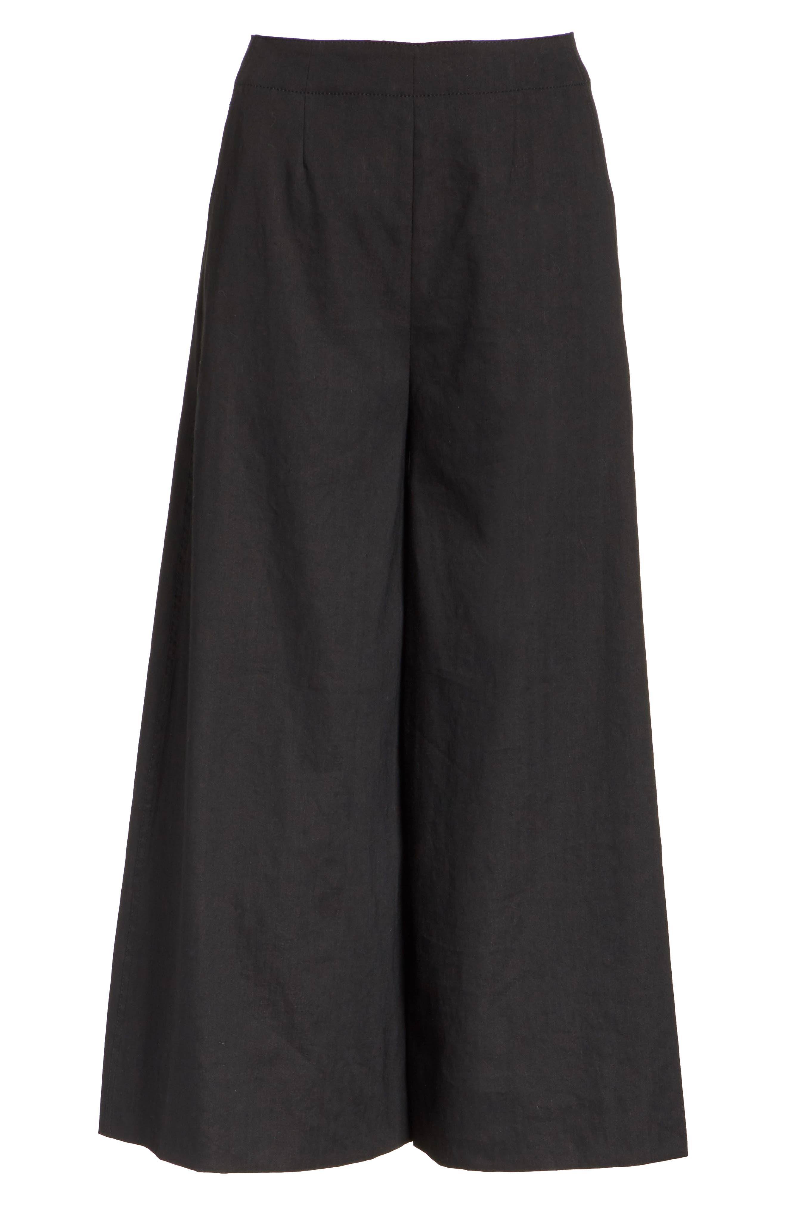 High Rise Linen Blend Culottes,                             Alternate thumbnail 6, color,                             001