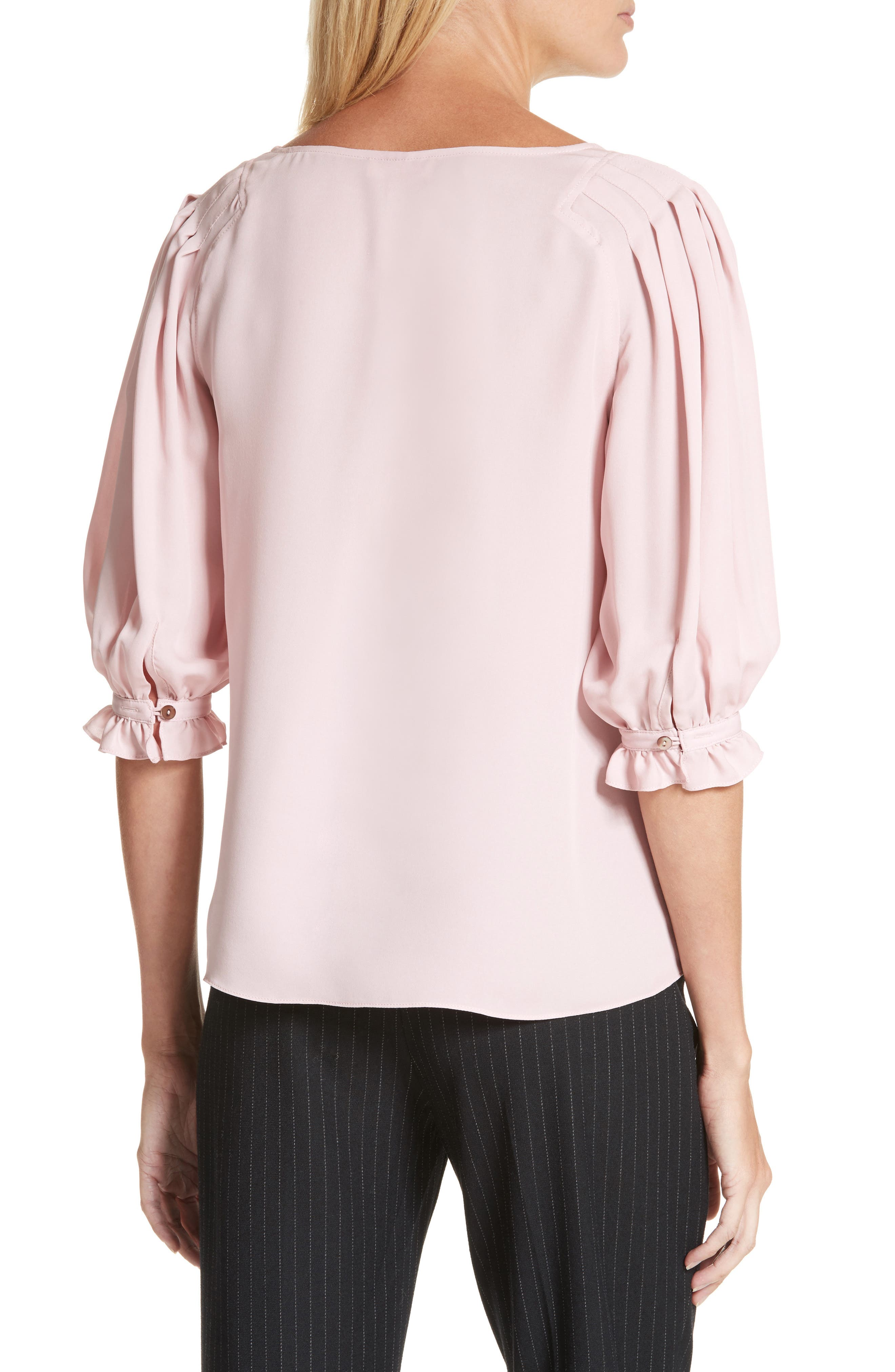 V-Neck Silk Blouse,                             Alternate thumbnail 2, color,                             655