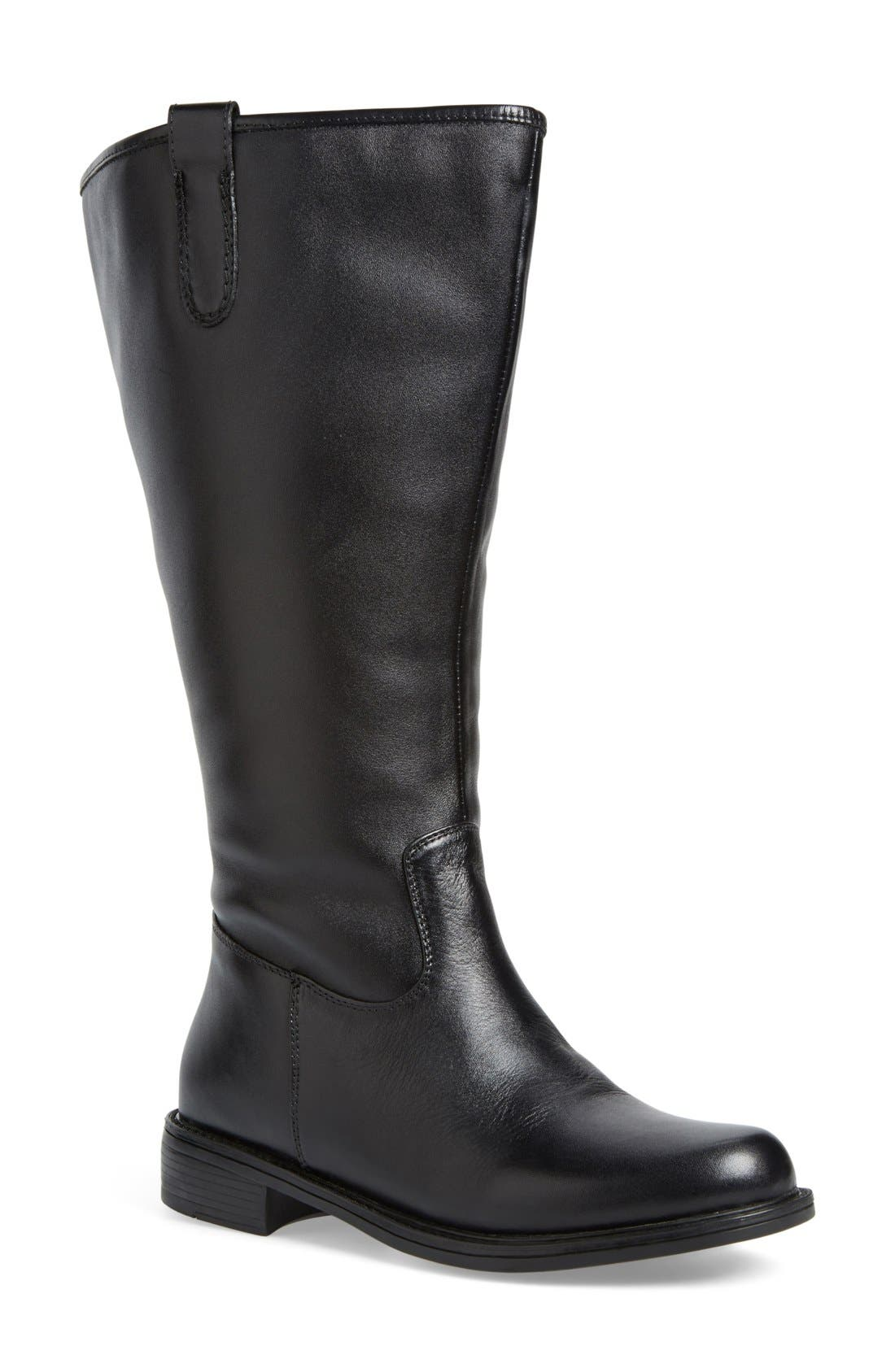'Best' Calfskin Leather & Suede Boot,                         Main,                         color, BLACK LEATHER