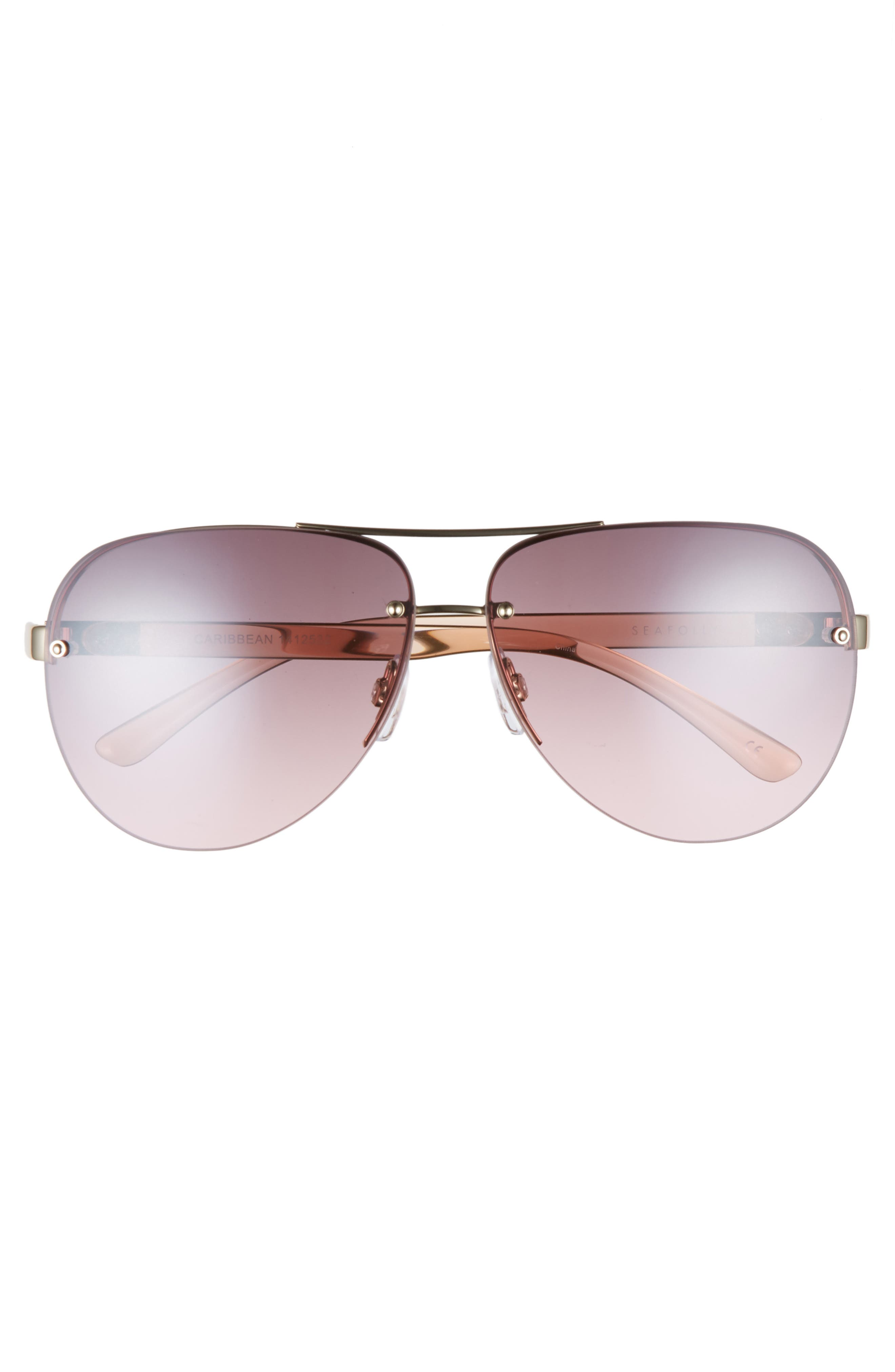 Caribbean 62mm Rimless Aviator Sunglasses,                             Alternate thumbnail 3, color,                             710