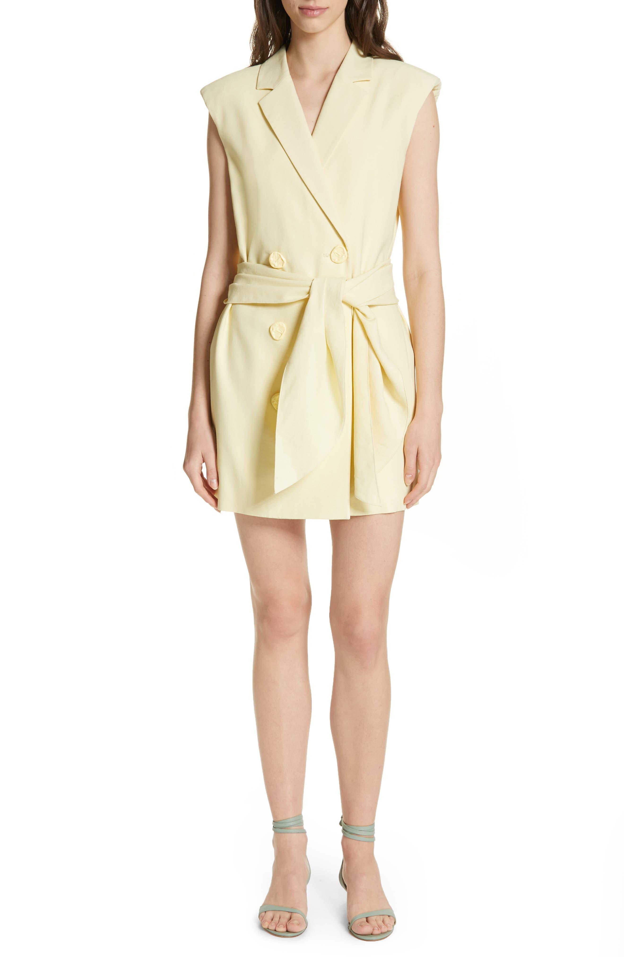 Tibi Tie Waist Blazer Dress, Yellow