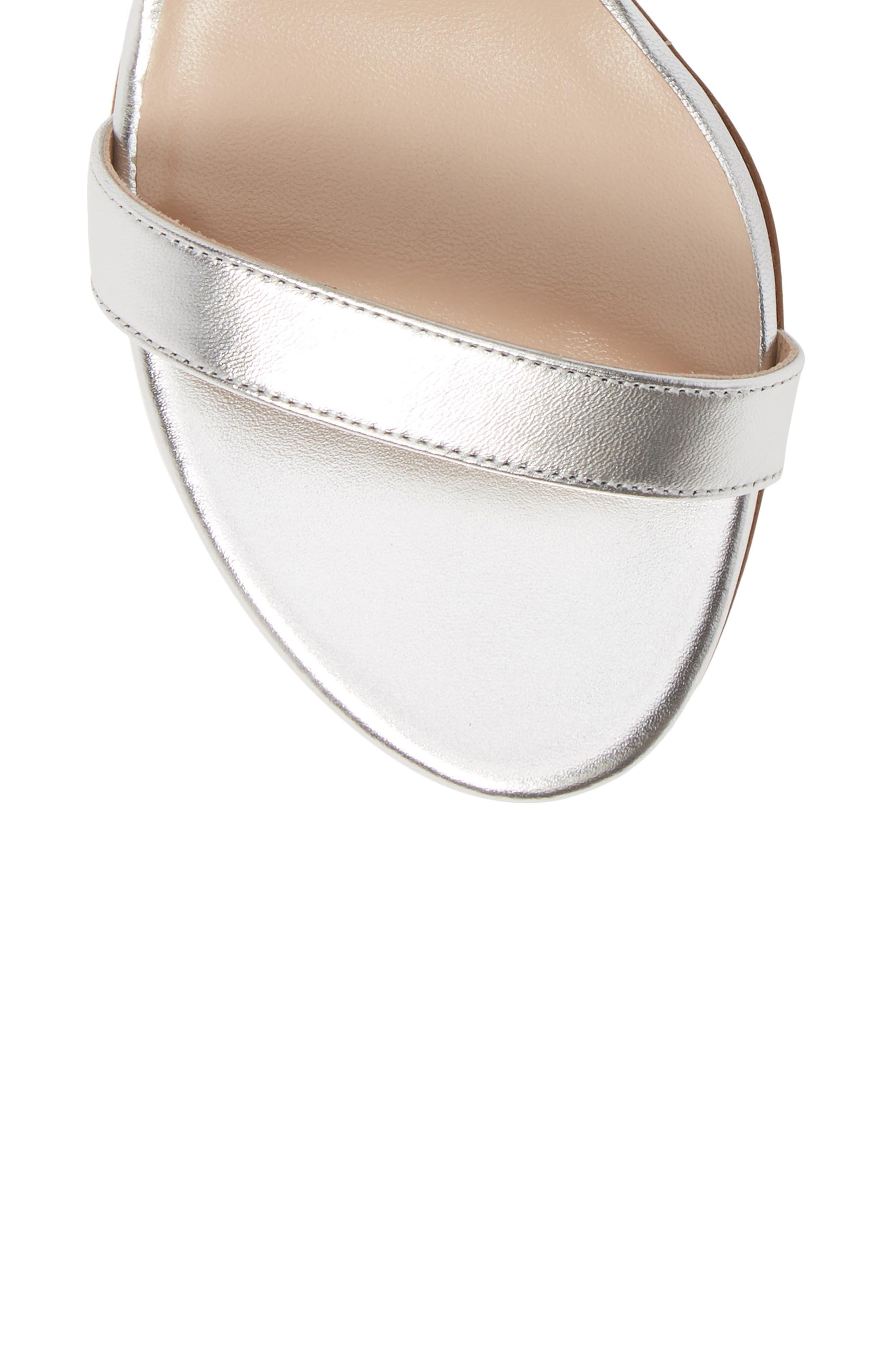 STUART WEITZMAN,                             NearlyNude Ankle Strap Sandal,                             Alternate thumbnail 5, color,                             SILVER METALLIC NAPPA