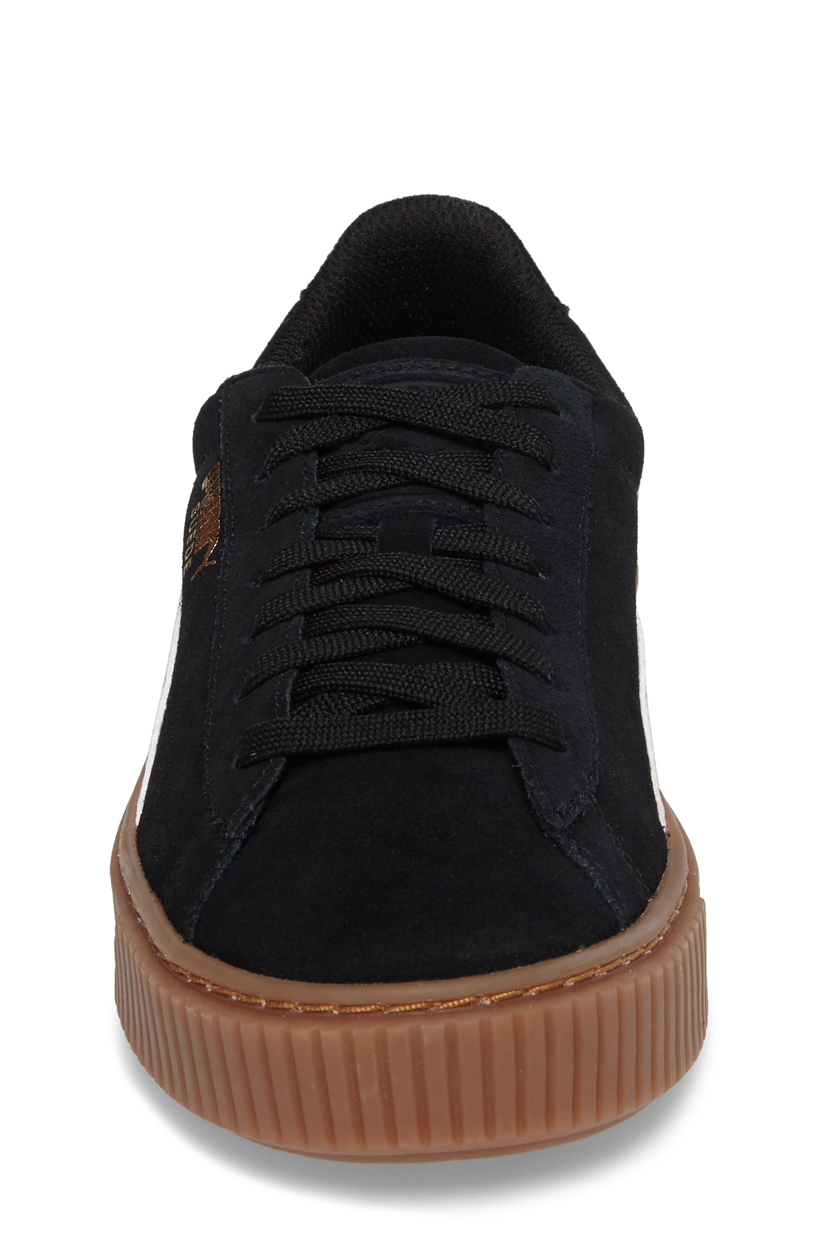 Suede Platform Jr Sneaker,                             Alternate thumbnail 4, color,                             001
