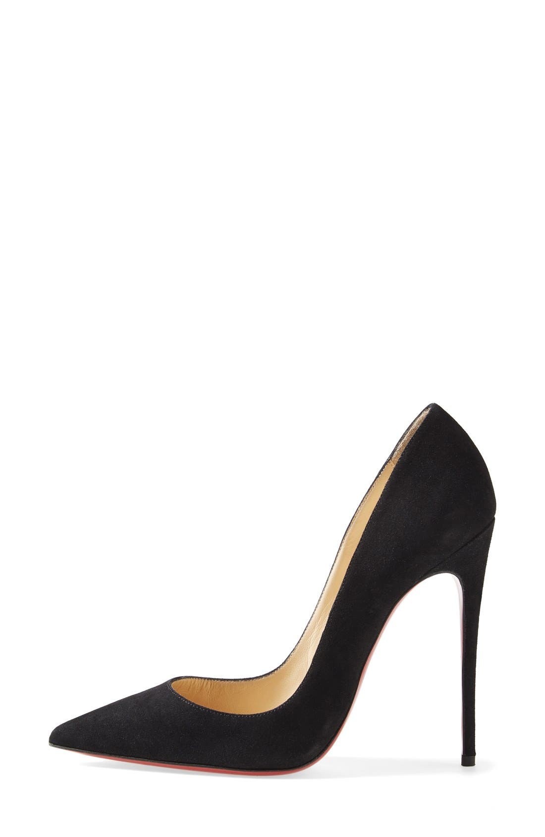 CHRISTIAN LOUBOUTIN,                             'So Kate' Pointy Toe Suede Pump,                             Alternate thumbnail 4, color,                             001