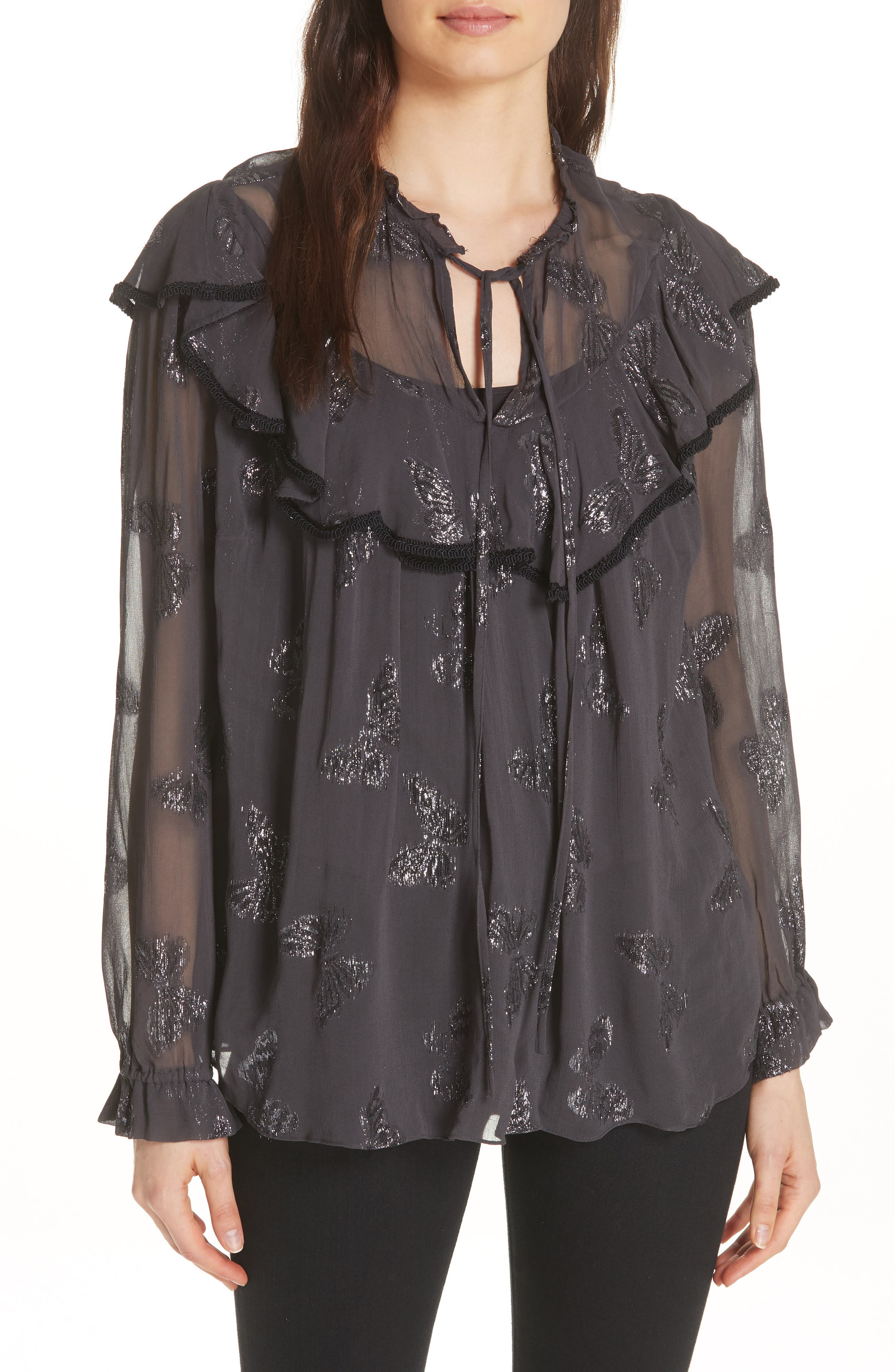 Metallic Butterfly Top,                             Main thumbnail 1, color,                             GRAPHITE