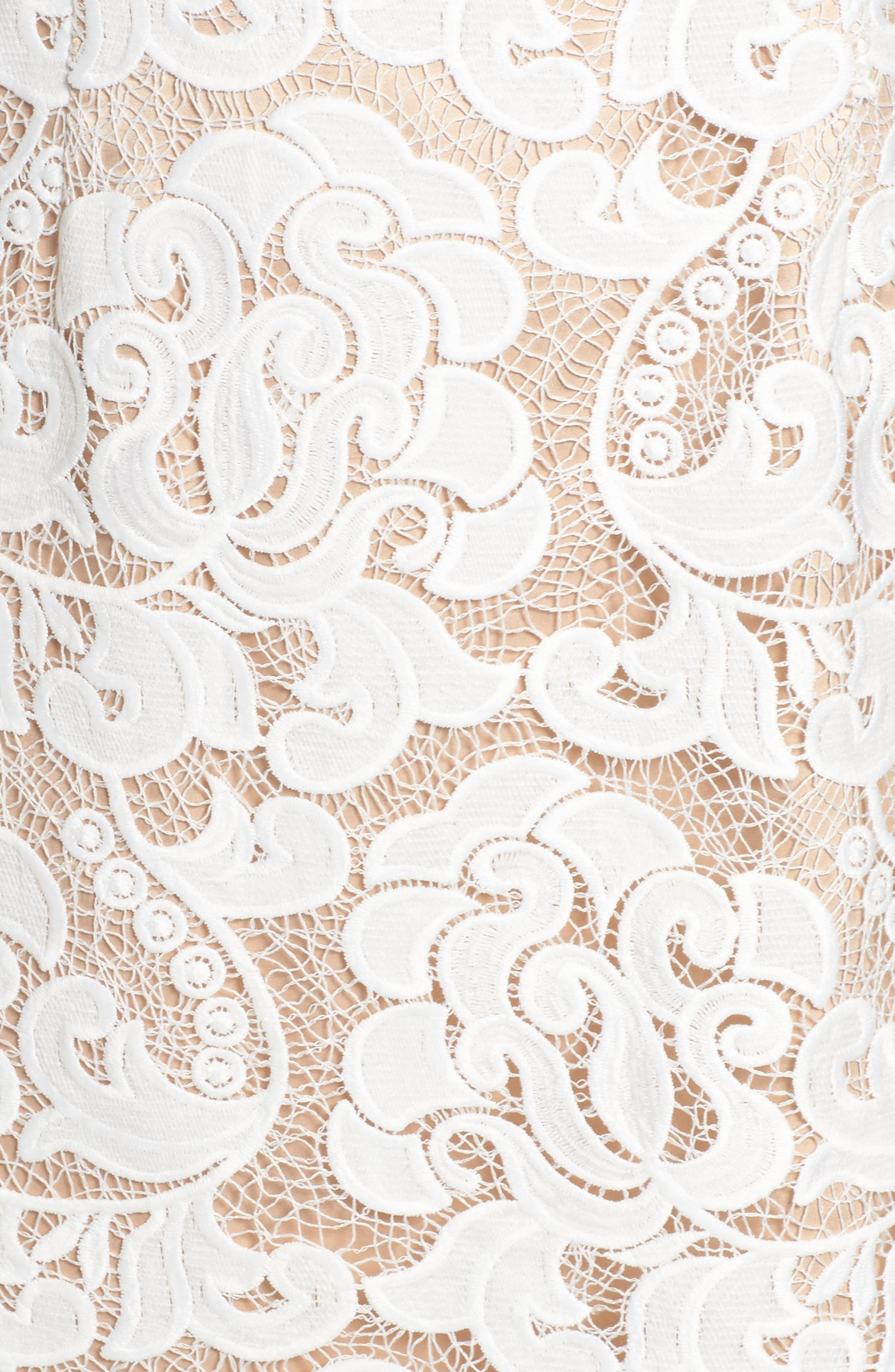 Lace Sheath Dress,                             Alternate thumbnail 7, color,                             IVORY