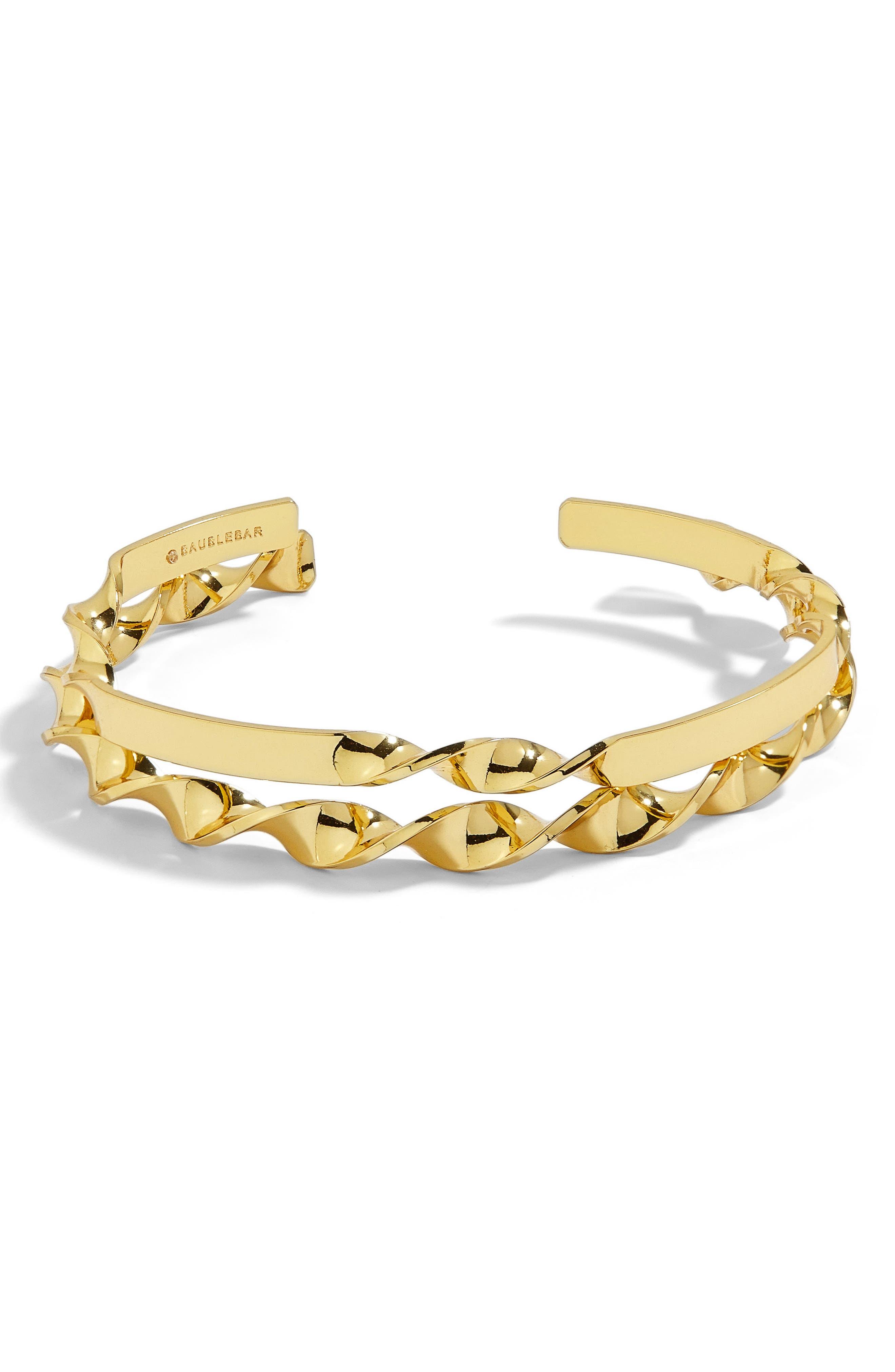 BAUBLEBAR Narine Set of 2 Twisted Gold Cuff Bracelets, Main, color, 710
