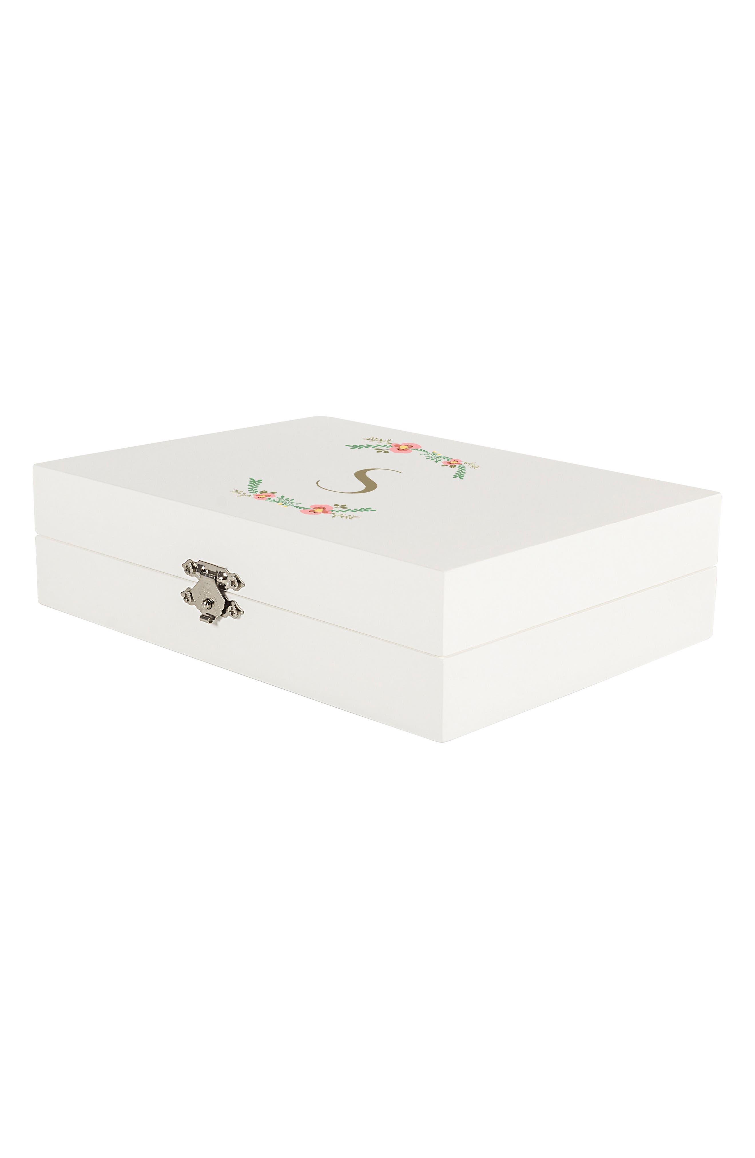 Monogram Floral Wedding Ring Box,                             Alternate thumbnail 30, color,