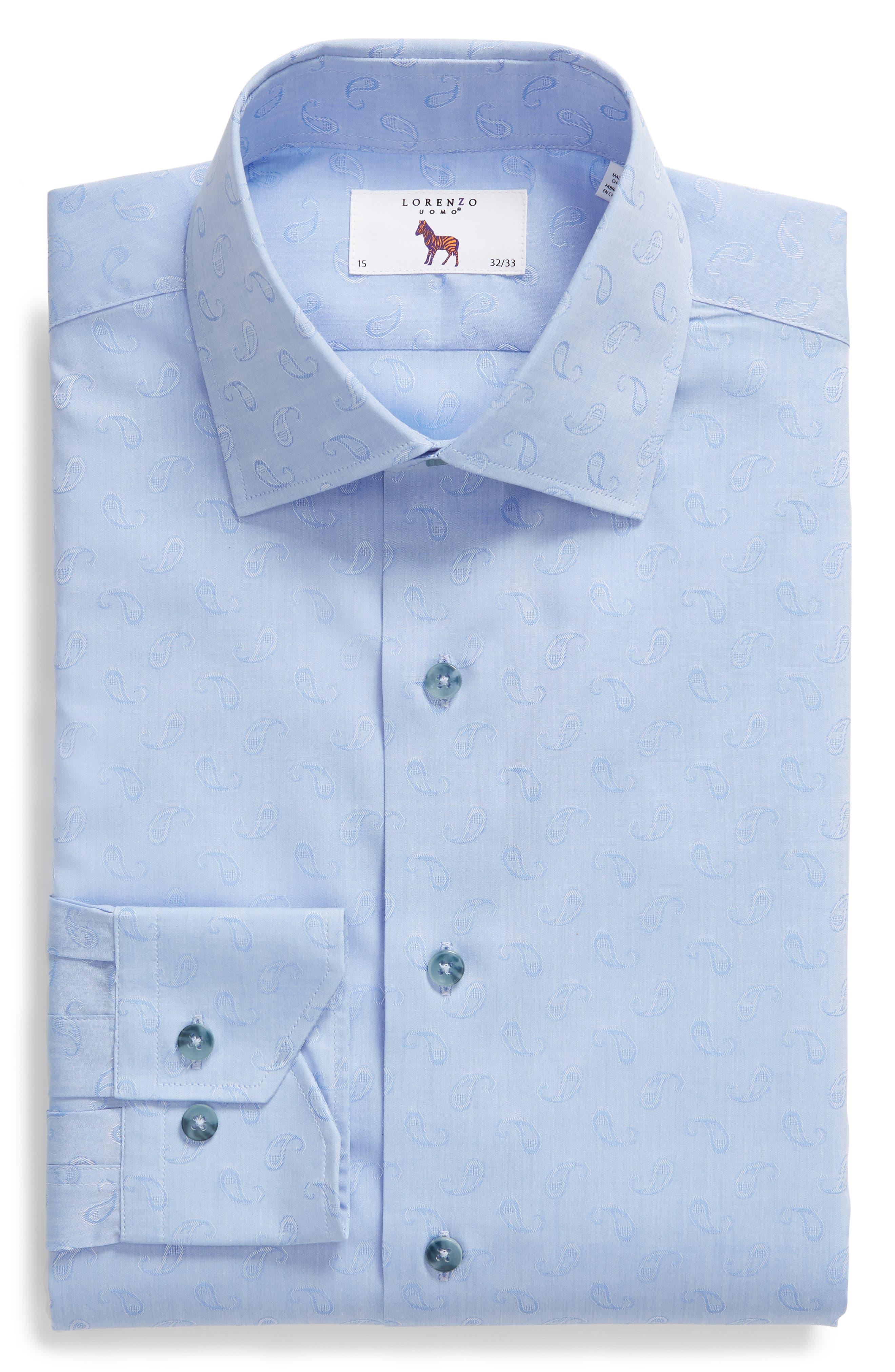 Trim Fit Paisley Dress Shirt,                             Alternate thumbnail 5, color,                             LIGHT BLUE