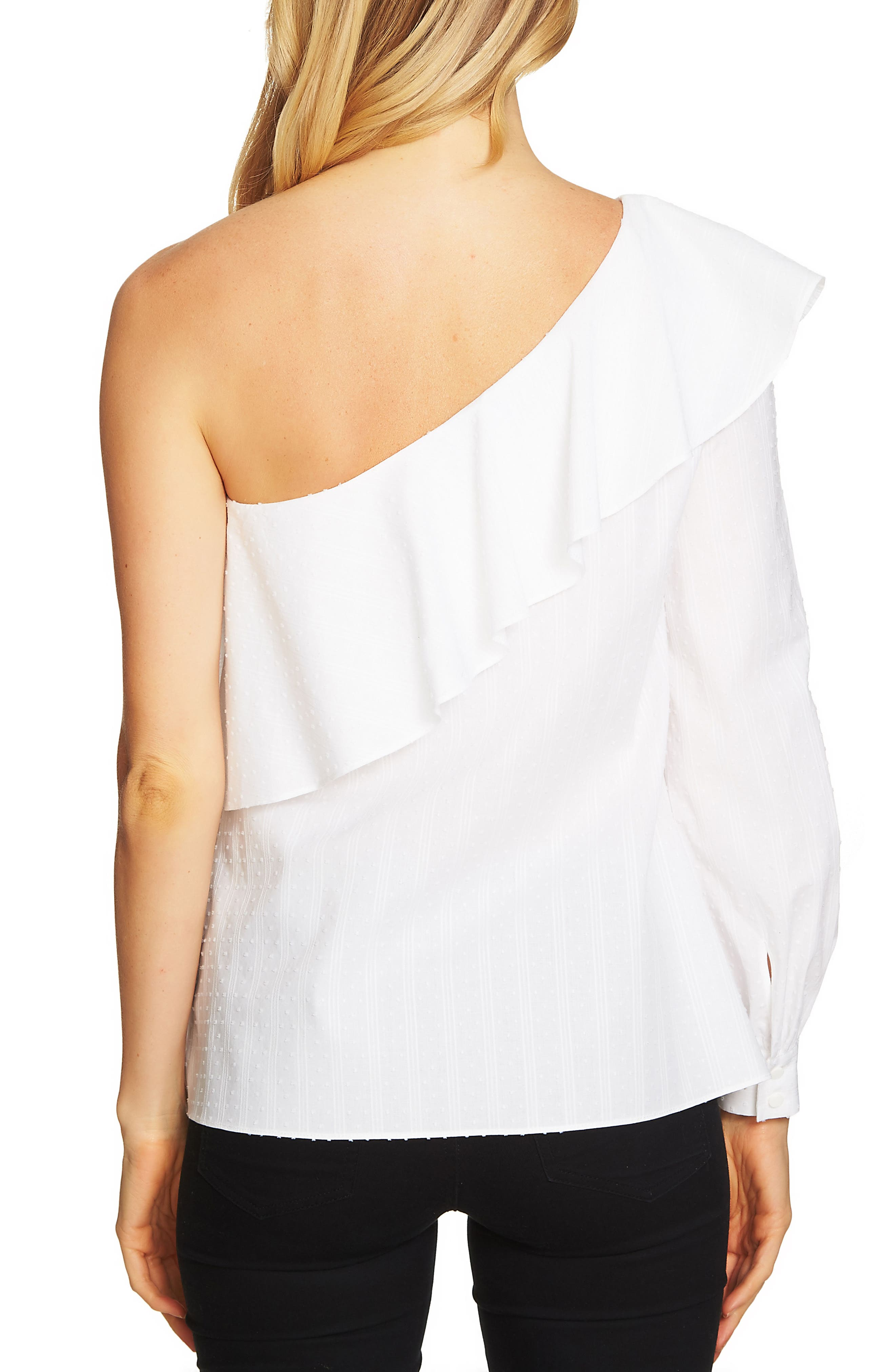 One-Shoulder Swiss Dot Top,                             Alternate thumbnail 2, color,                             145