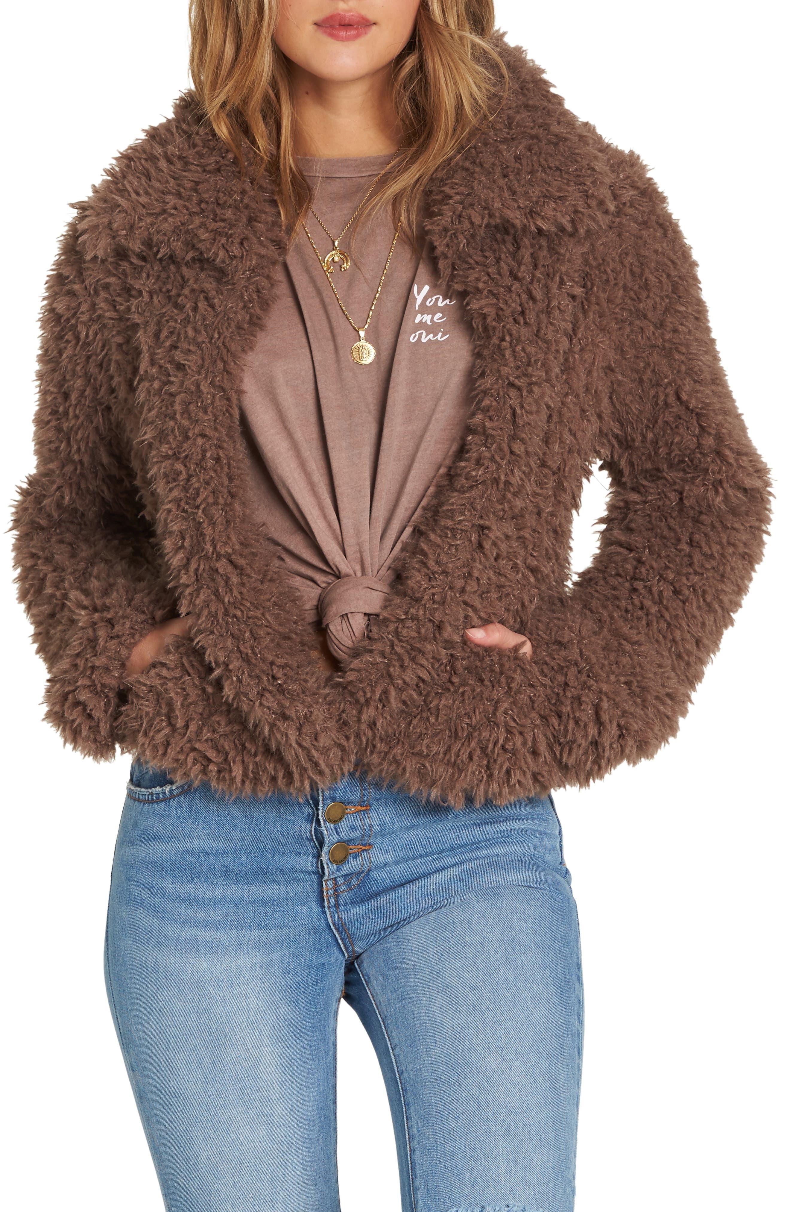 Fur Keeps Faux Fur Crop Jacket, Main, color, COYOTE