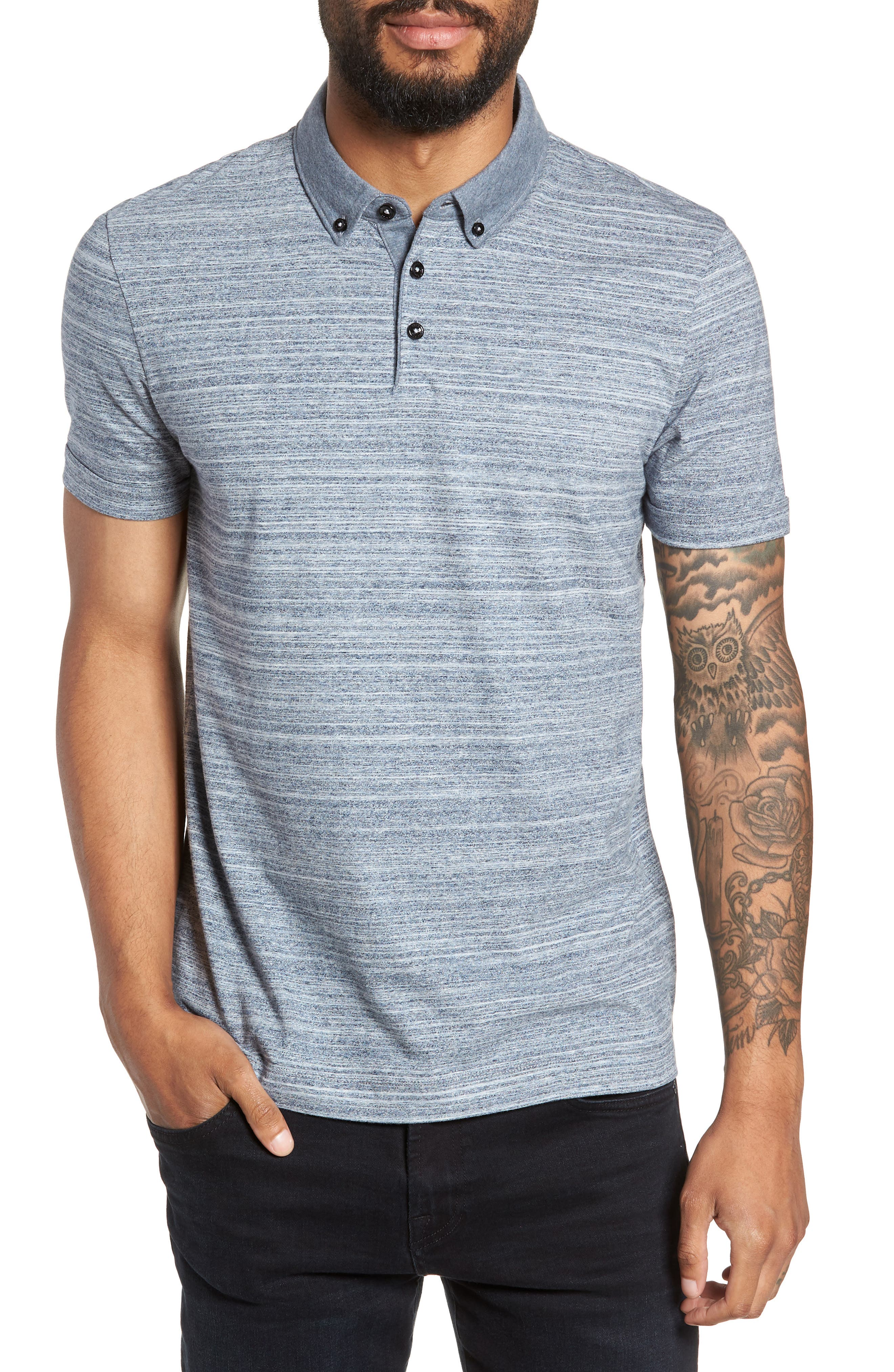 Pelham Space Dyed Slim Fit Polo,                         Main,                         color, 480