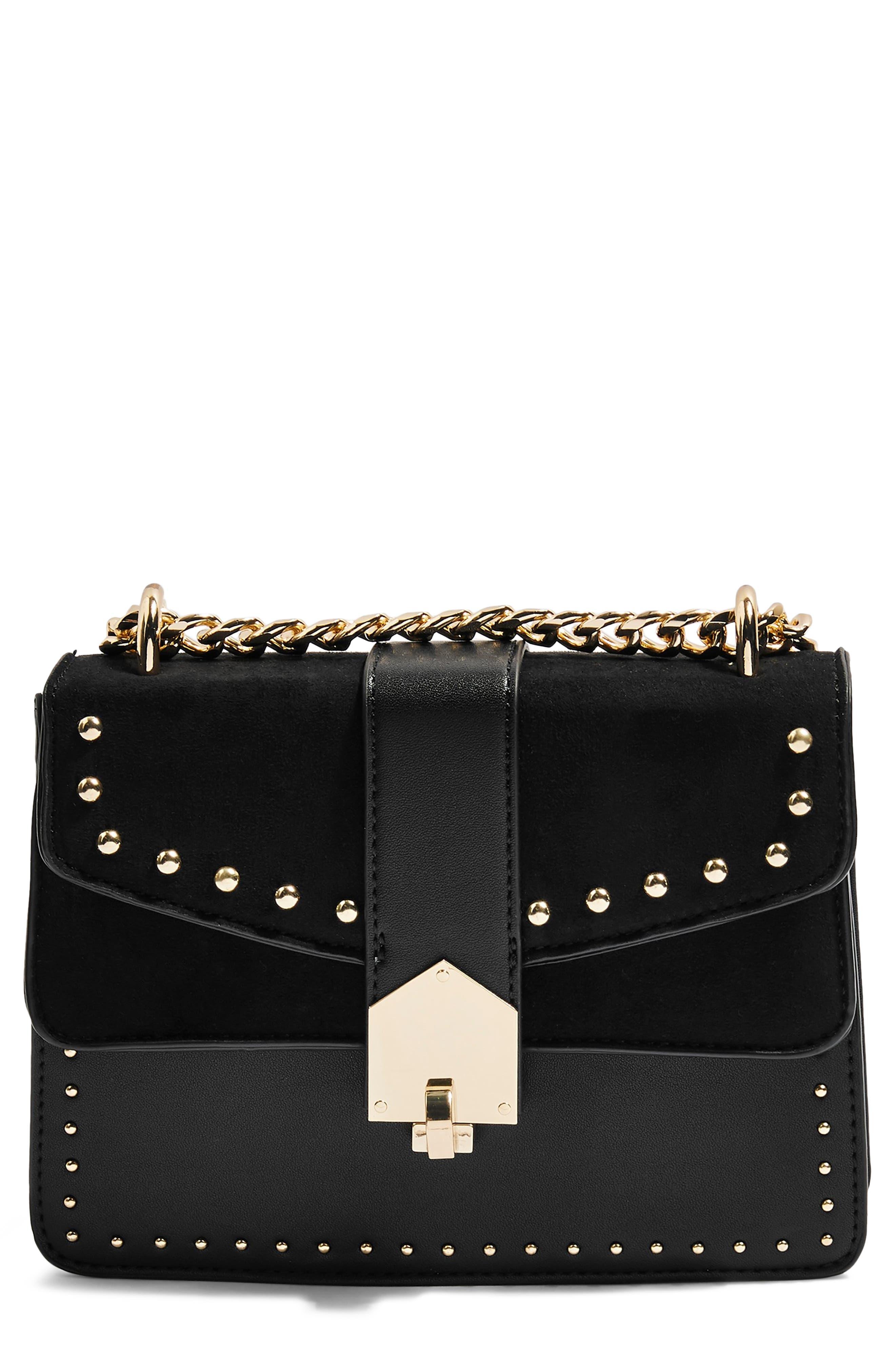 Shelby Stud Crossbody Bag,                         Main,                         color, BLACK