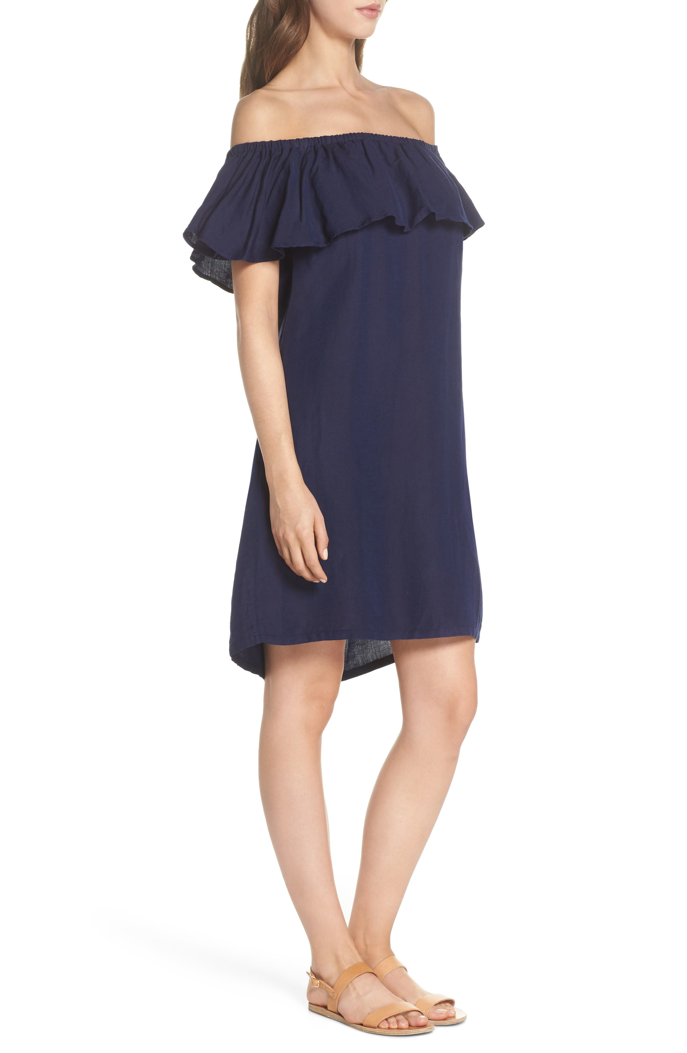 Off the Shoulder Cover-Up Dress,                             Alternate thumbnail 3, color,                             MARE BLUE