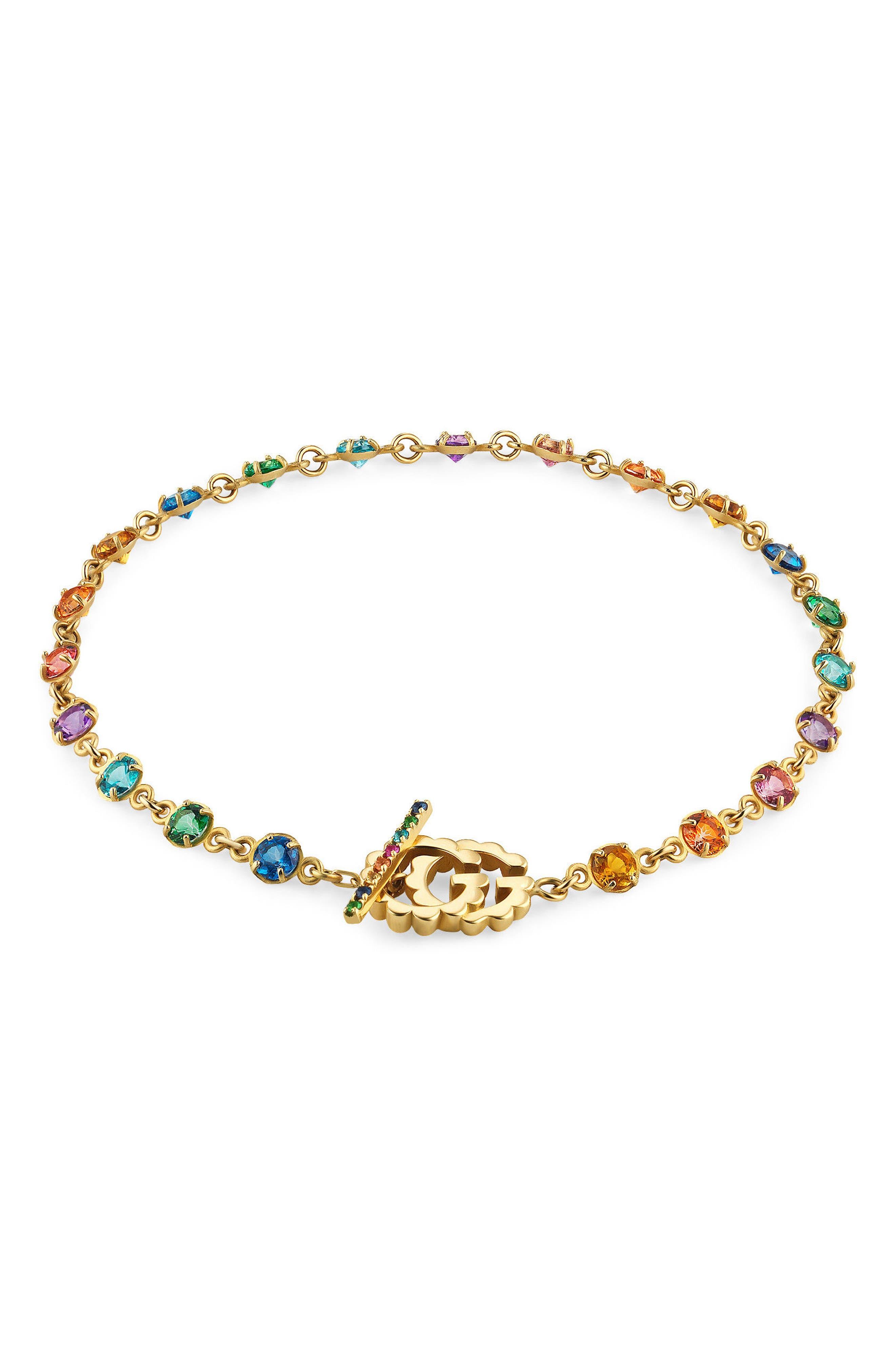 Running G Semiprecious Stone Linear Bracelet,                             Main thumbnail 1, color,                             YELLOW GOLD